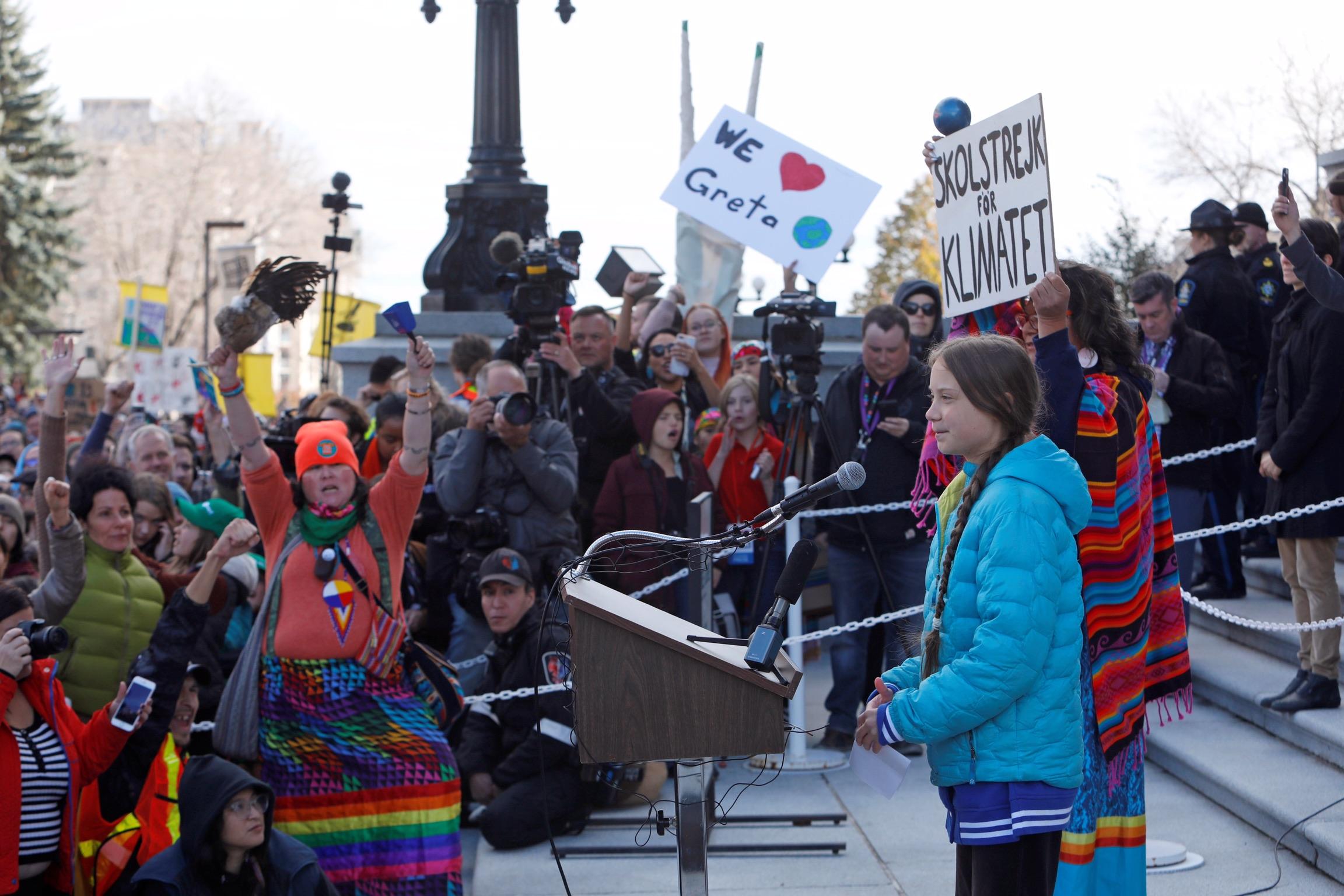 Swedish climate change teen activist Greta Thunberg speaks during a climate strike at the Alberta Legislature in Edmonton, Alberta, Canada October 18, 2019. REUTERS/Amber Bracken