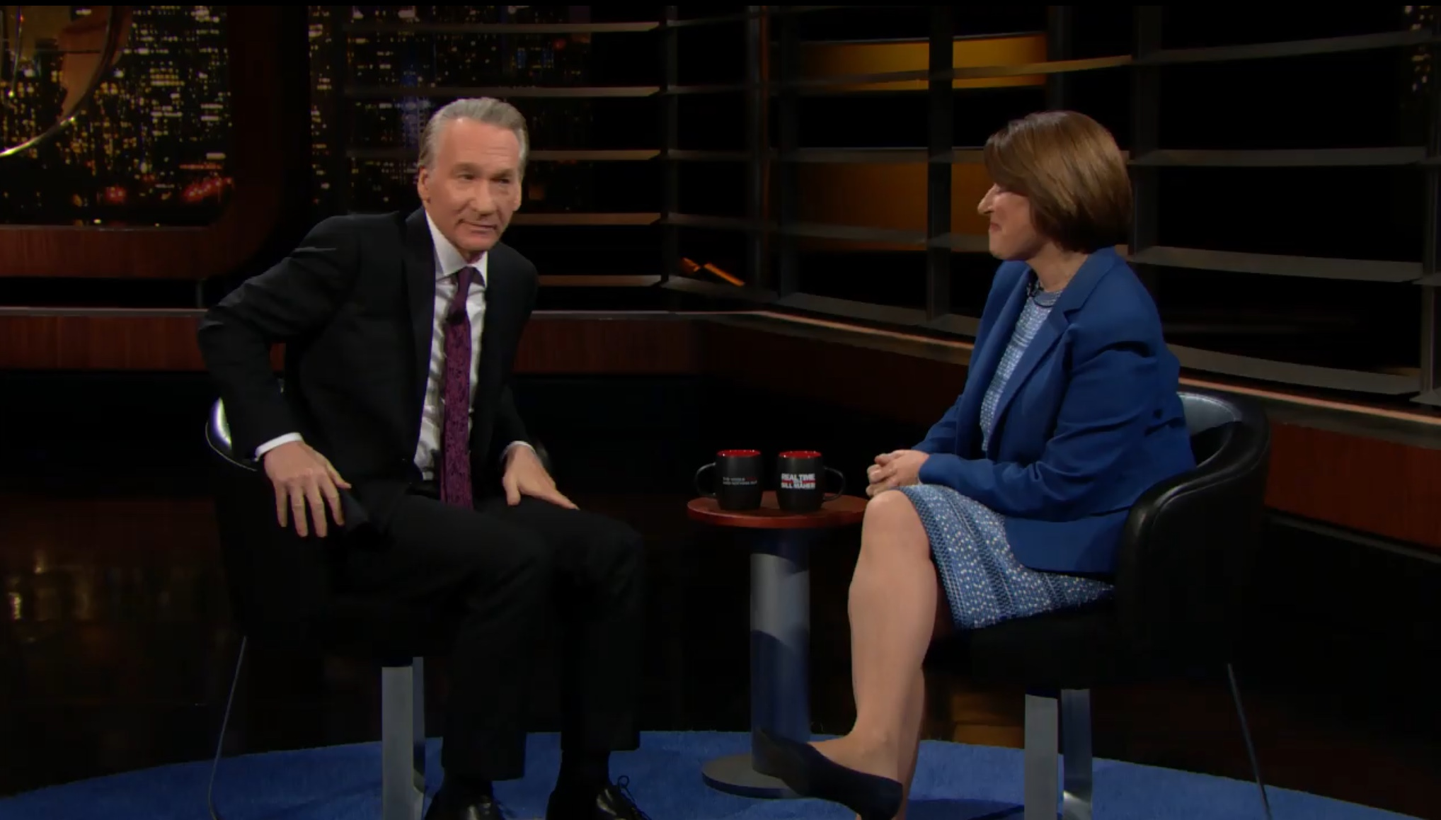 "Bill Maher talks with Democratic Minnesota Sen. Amy Klobuchar on ""Real Time with Bill Maher,"" Oct. 11, 2019. YouTube screenshot"