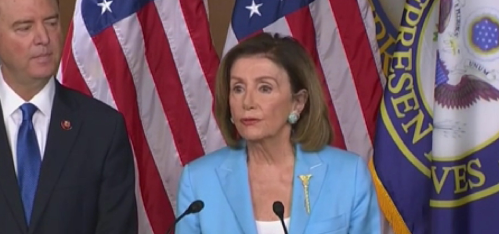 House Speaker Nancy Pelosi conducts a news conference to discuss impeachment, Oct. 2, 2019. CSPAN screenshot