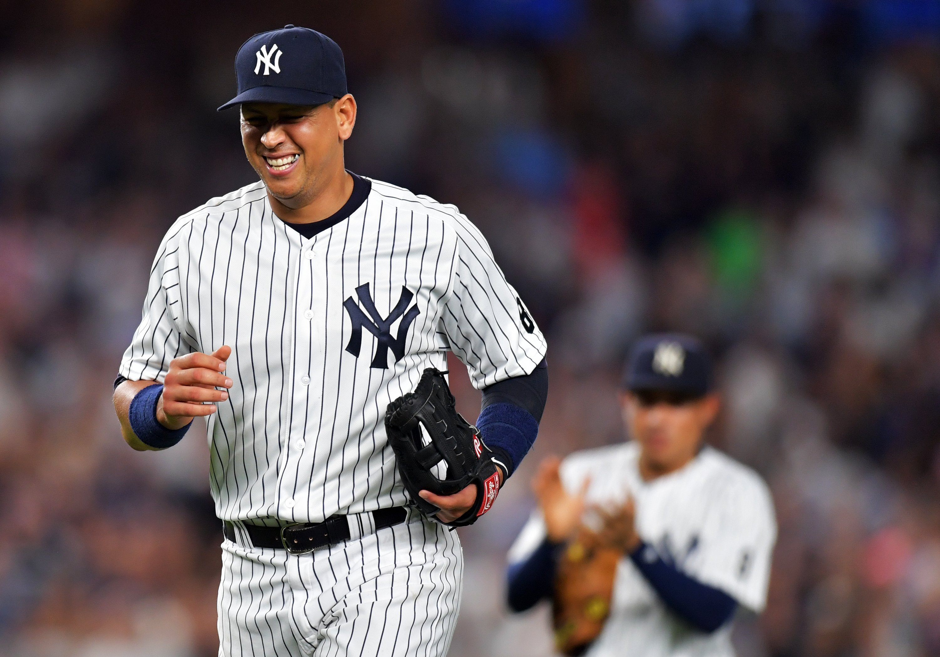 Alex Rodriguez #13 of the New York Yankees leaves the game in the ninth inning against the Tampa Bay Rays at Yankee Stadium on August 12, 2016 in New York City. (Photo by Drew Hallowell/Getty Images)
