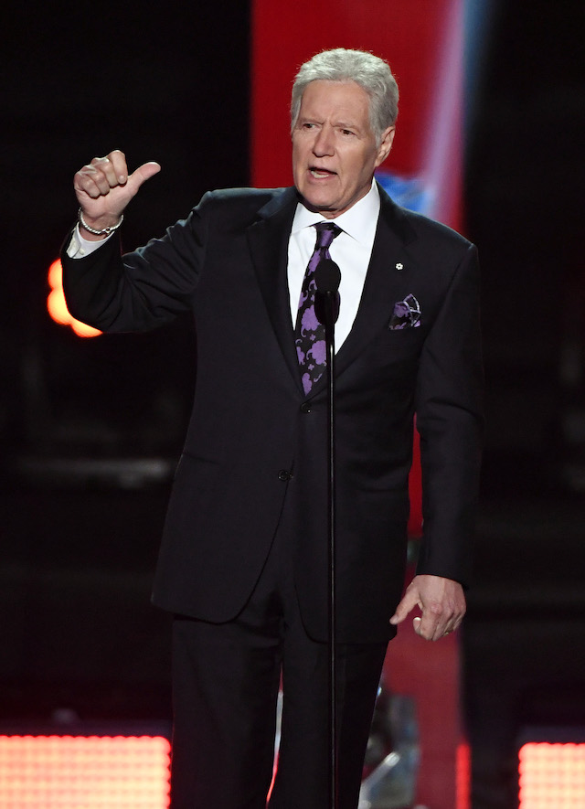 """Jeopardy!"" host Alex Trebek presents the Hart Memorial Trophy during the 2019 NHL Awards at the Mandalay Bay Events Center on June 19, 2019 in Las Vegas, Nevada. (Photo by Ethan Miller/Getty Images)"