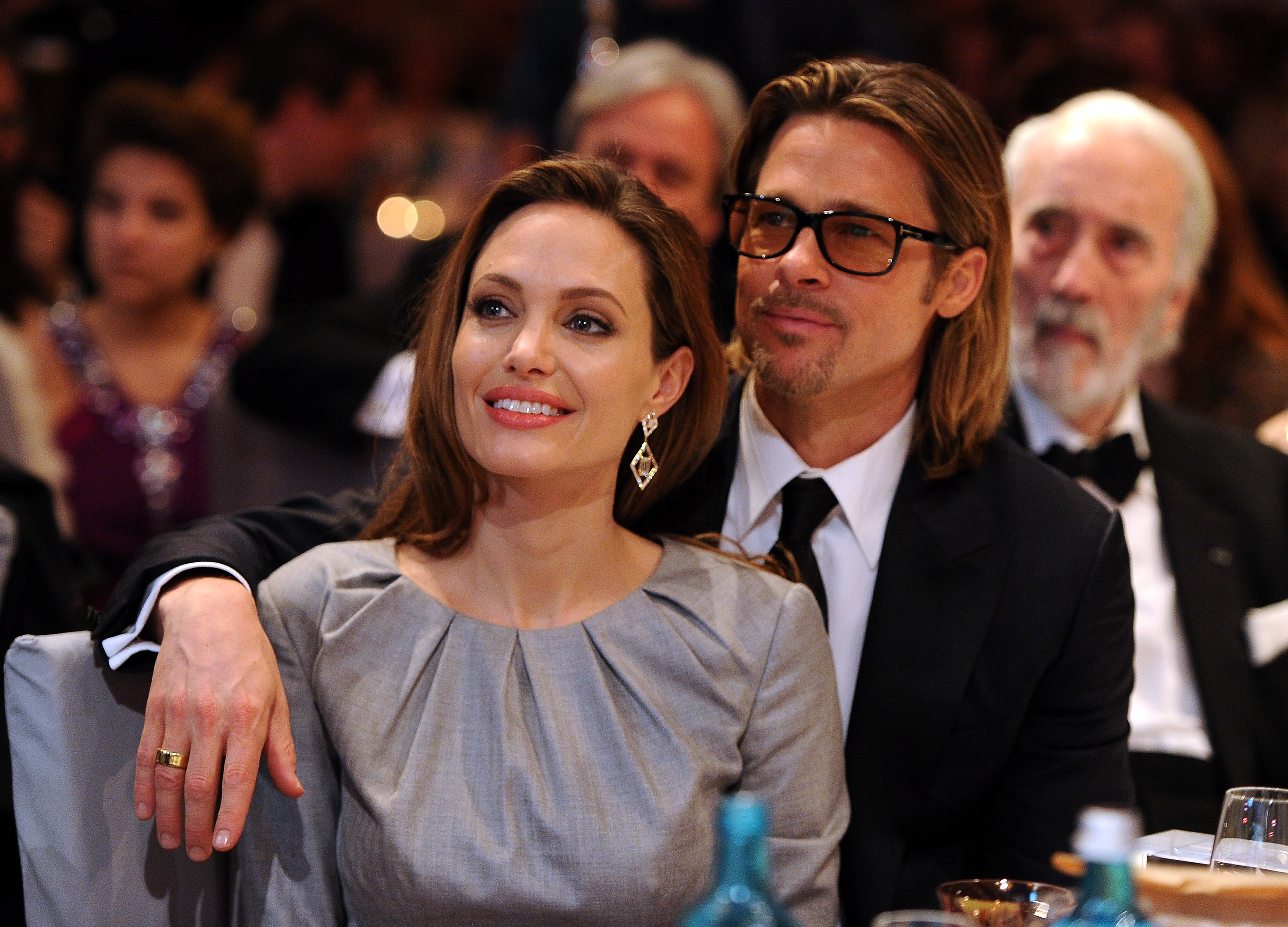 Angelina Jolie and Brad Pitt attend the Cinema for Peace Gala ceremony at the Konzerthaus Am Gendarmenmarkt during day five of the 62nd Berlin International Film Festival on February 13, 2012 in Berlin, Germany. (Photo by Pascal Le Segretain/Getty Images for Cinema for Peace)