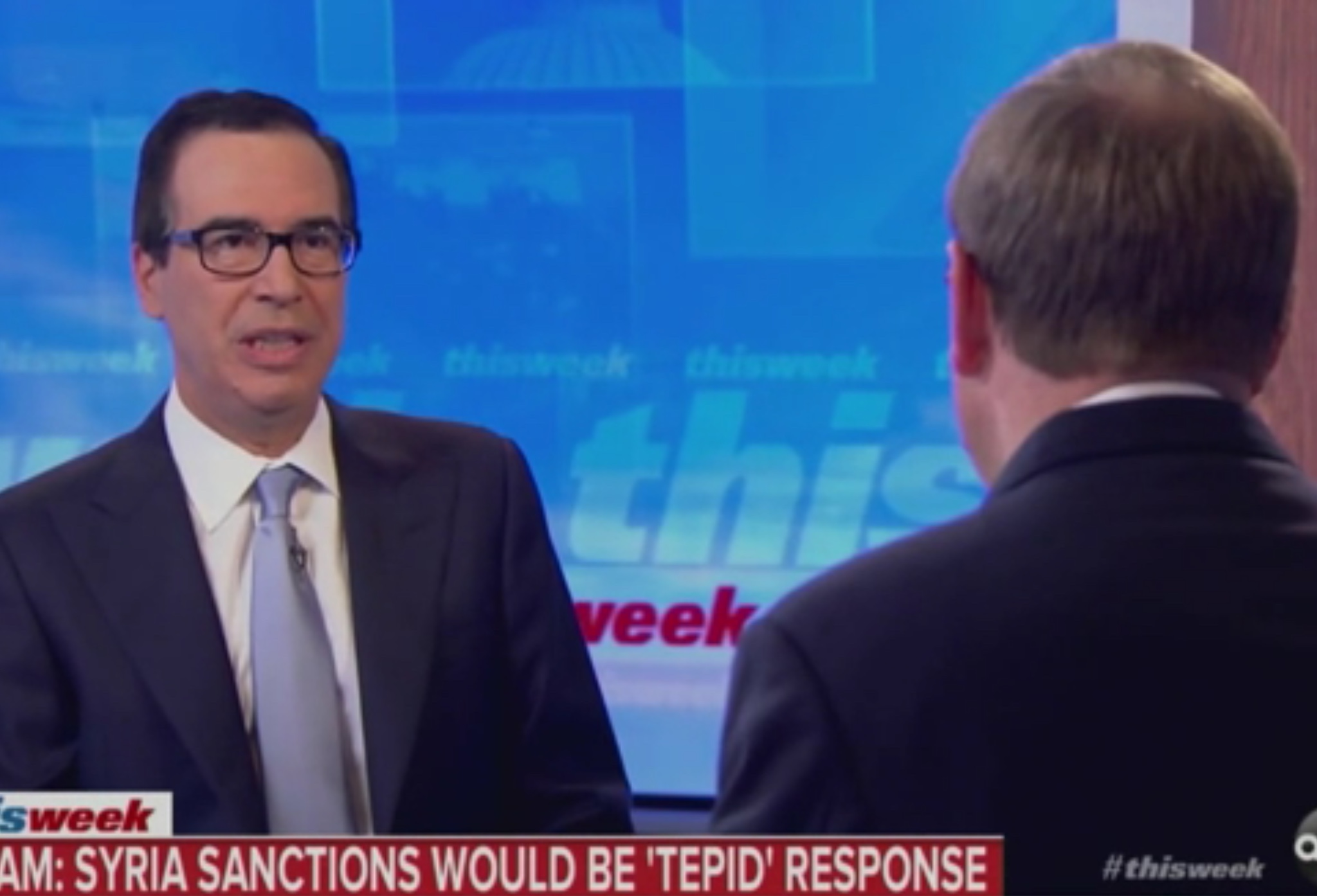"Treasury Secretary Steven Mnuchin appears on ""This Week with George Stephanopoulos"" to discuss economic sanctions against Turkey, Oct. 13, 2019. ABC News screenshot"