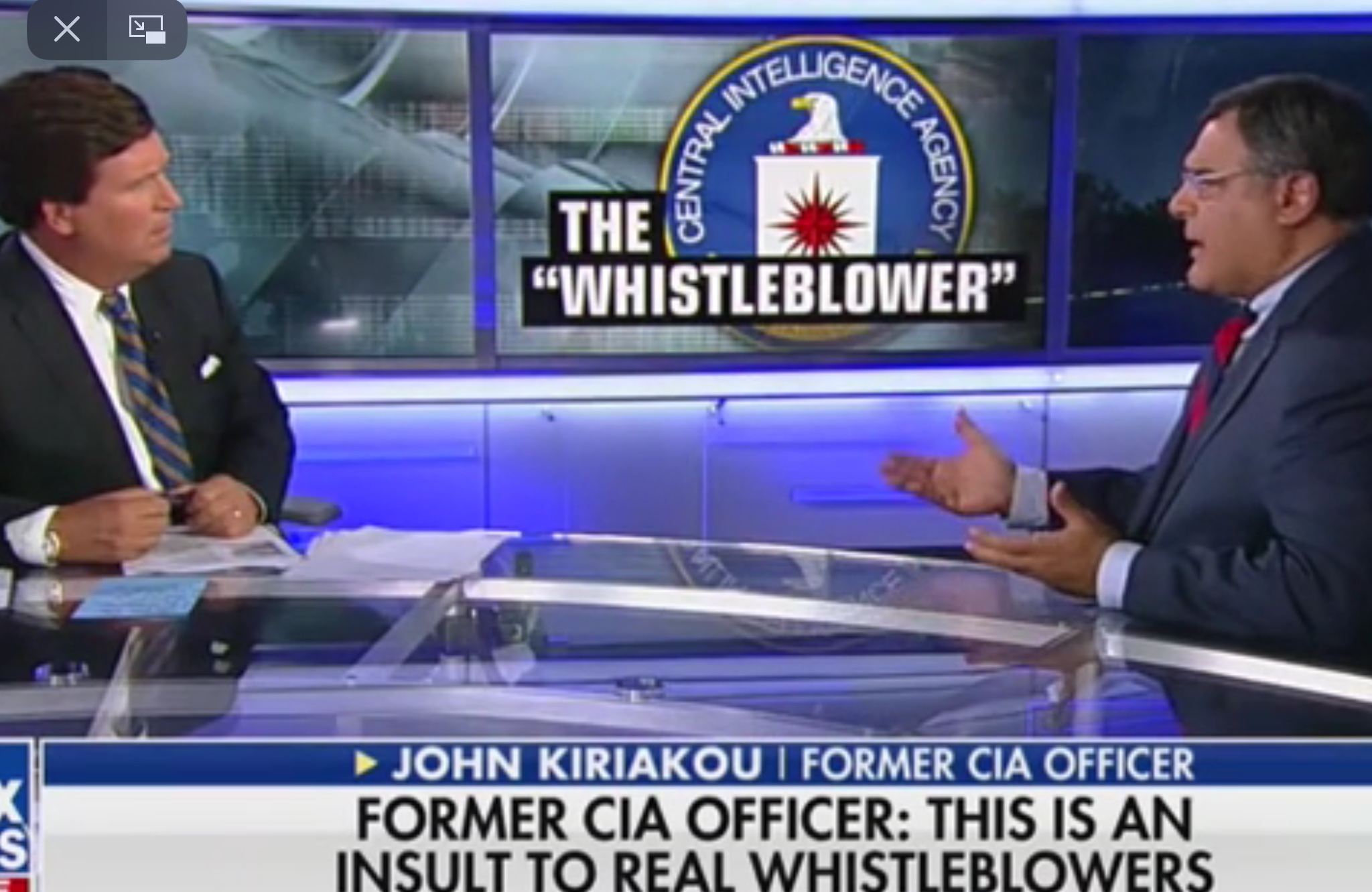 "Former CIA whistleblower John Kiriakou talks about the current whistleblower who has ignited the impeachment inquiry on ""Tucker Carlson Tonight,"" Oct. 9, 2019. Fox News screenshot"