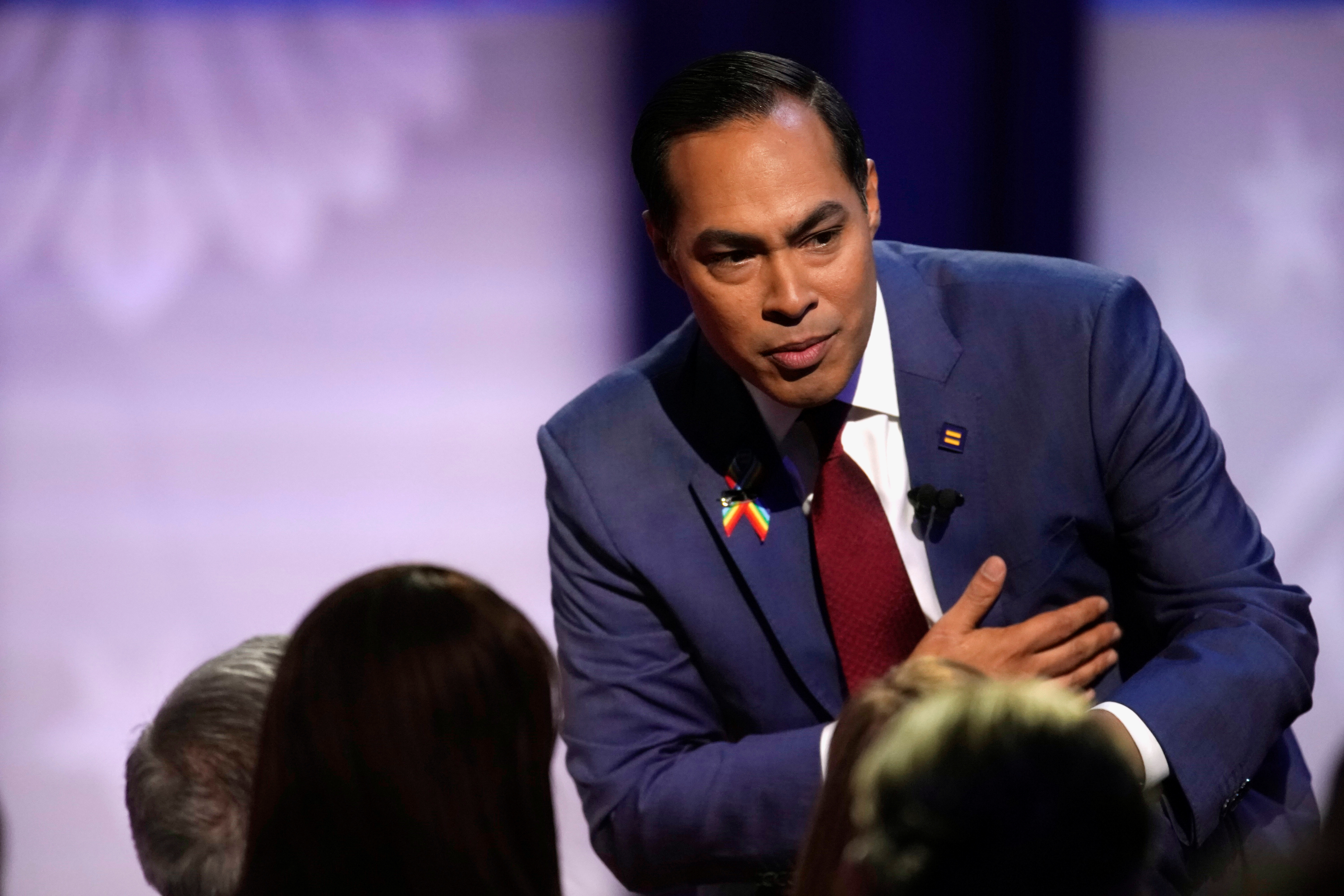 Democratic 2020 U.S. presidential candidate Julian Castro gestures during a televised townhall on CNN dedicated to LGBTQ issues in Los Angeles, California