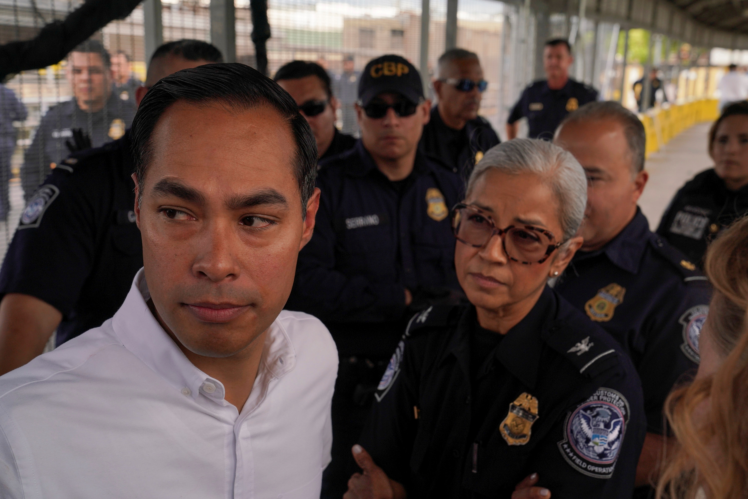 Democratic presidential candidate Former HUD Secretary Julian Castro walks over asylum seekers who have been sent back under the Migrant Protection Protocols (MPP) to try to get them exempt so they can continue their case in the U.S. in Matamoros
