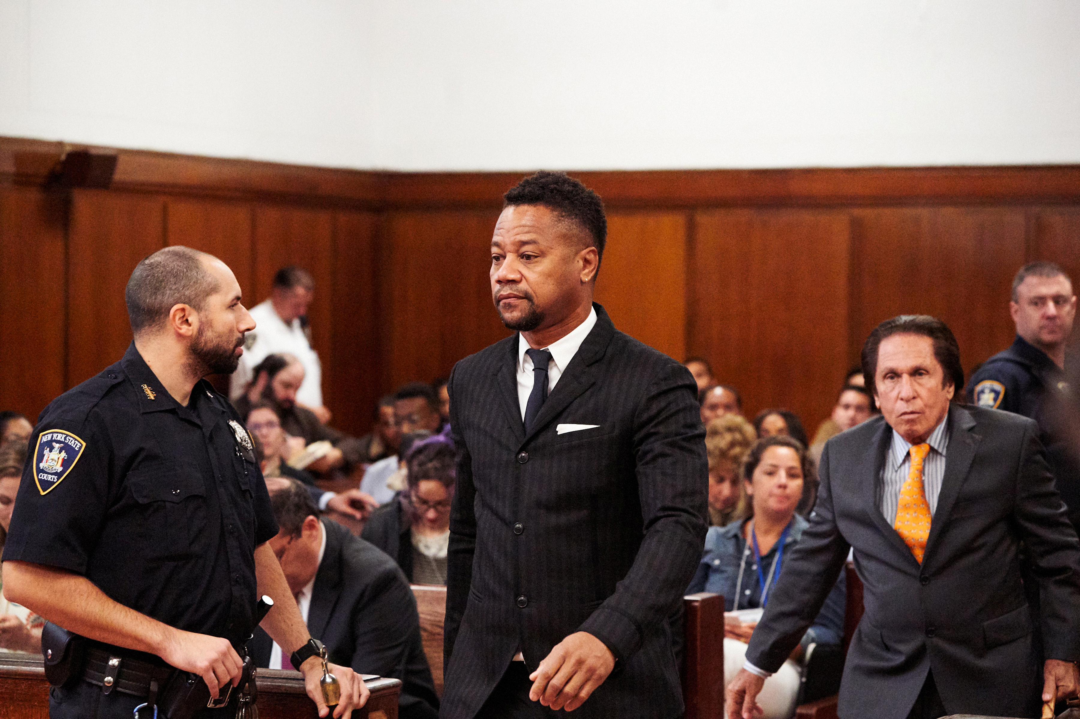 Actor Cuba Gooding Jr. leaves New York State Criminal Court in the Manhattan borough of New York, U.S.., October 10, 2019. James Keivom/Pool via REUTERS - RC14DD1BD600