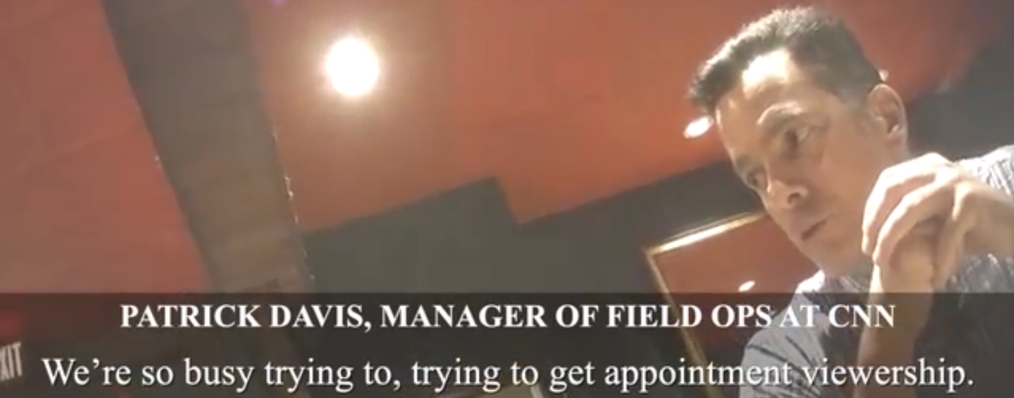 CNN Manager of Field Operations Patrick Davis talks to Project Veritas about his network's liberal bias. YouTube screenshot.