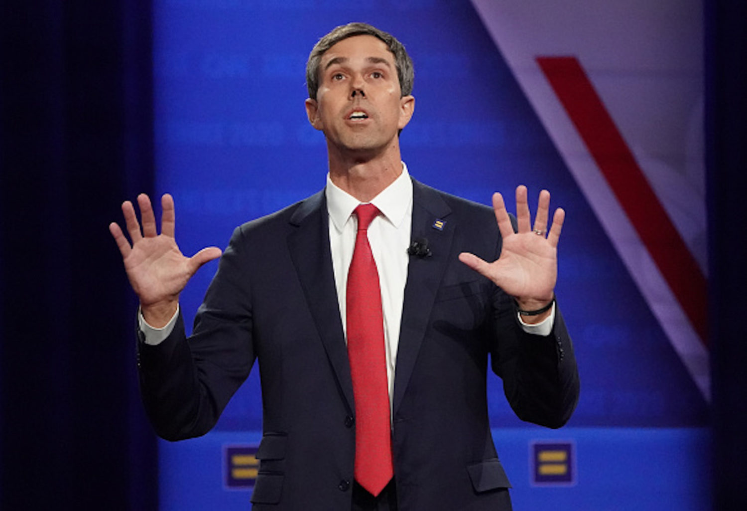 LOS ANGELES, CALIFORNIA - OCTOBER 10: Democratic presidential candidate, former U.S. Rep. Beto O'Rourke (D-TX) speaks at the Human Rights Campaign Foundation and CNN presidential town hall focused on LGBTQ issues on October 10, 2019 in Los Angeles, California. It is the first Presidential event broadcast on a major news network focused on LGBTQ issues. (Photo by Mario Tama/Getty Images)