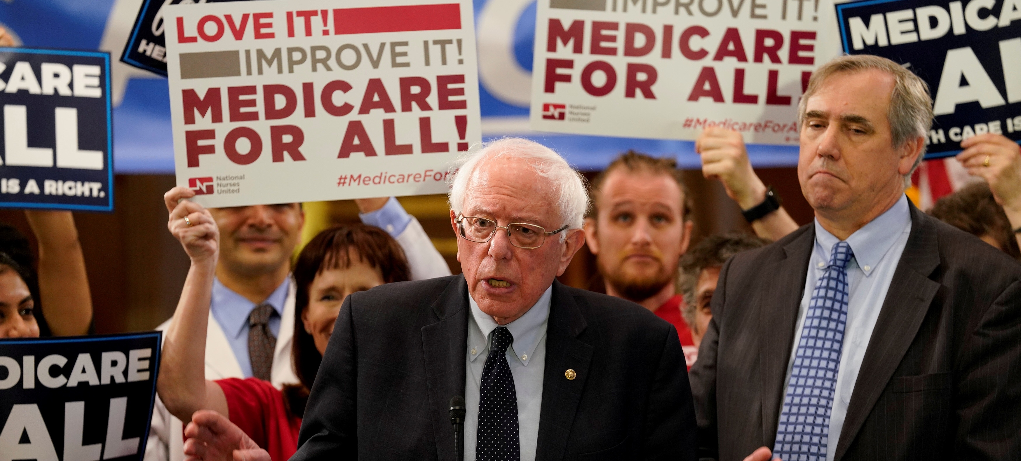 "FILE PHOTO: Democratic U.S. presidential candidate U.S. Sen. Bernie Sanders (I-VT) speaks at a news conference to introduce the ""Medicare for All Act of 2019"" on Capitol Hill in Washington, U.S., April 10, 2019. REUTERS/Aaron P. Bernstein/File Photo"