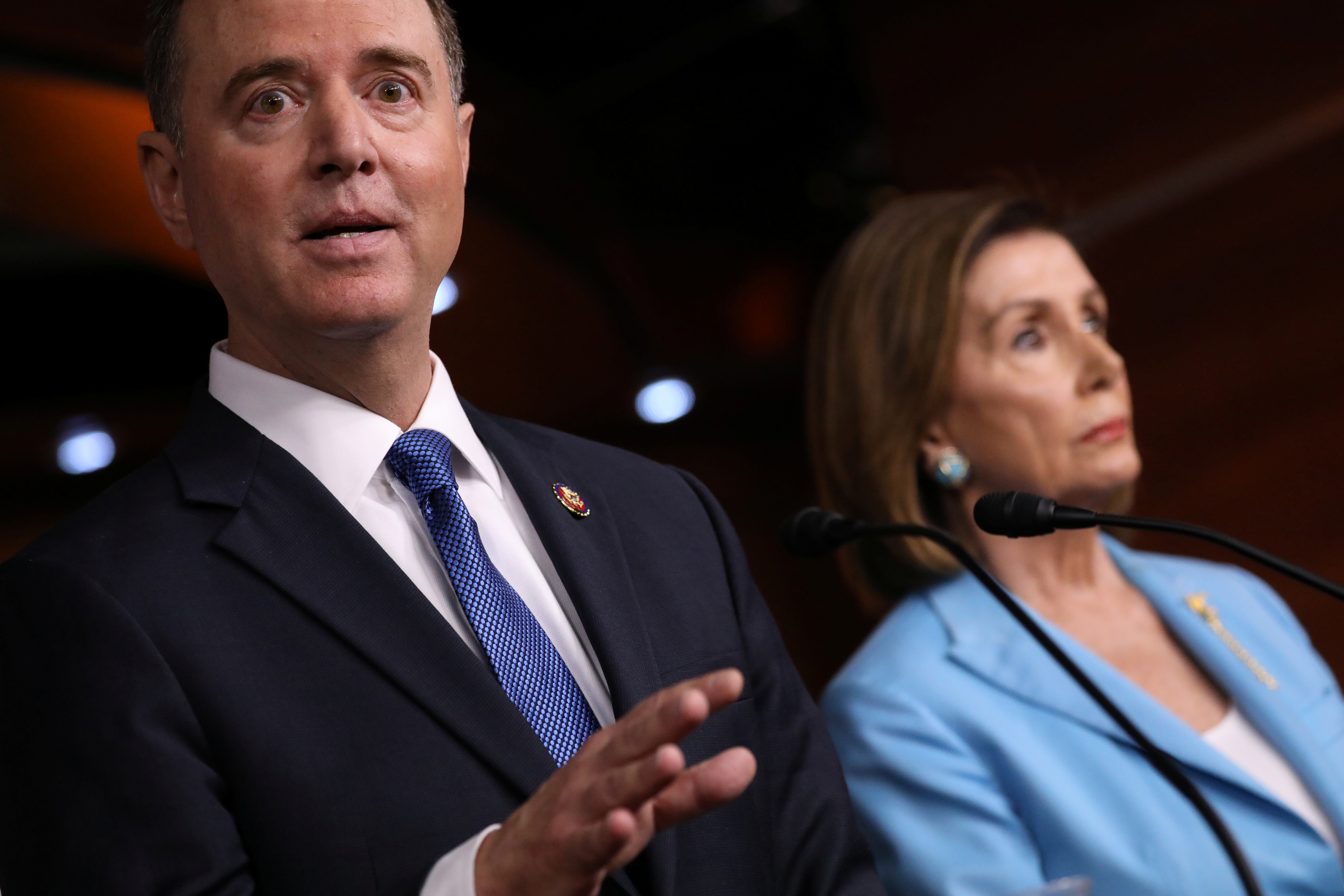U.S. House Intelligence Committee Chairman Adam Schiff (D-CA) joins Speaker of the House Nancy Pelosi to speak about Democratic legislative priorities and impeachment inquiry plans during her weekly news conference at the U.S. Capitol in Washington, U.S., October 2, 2019. REUTERS/Jonathan Ernst
