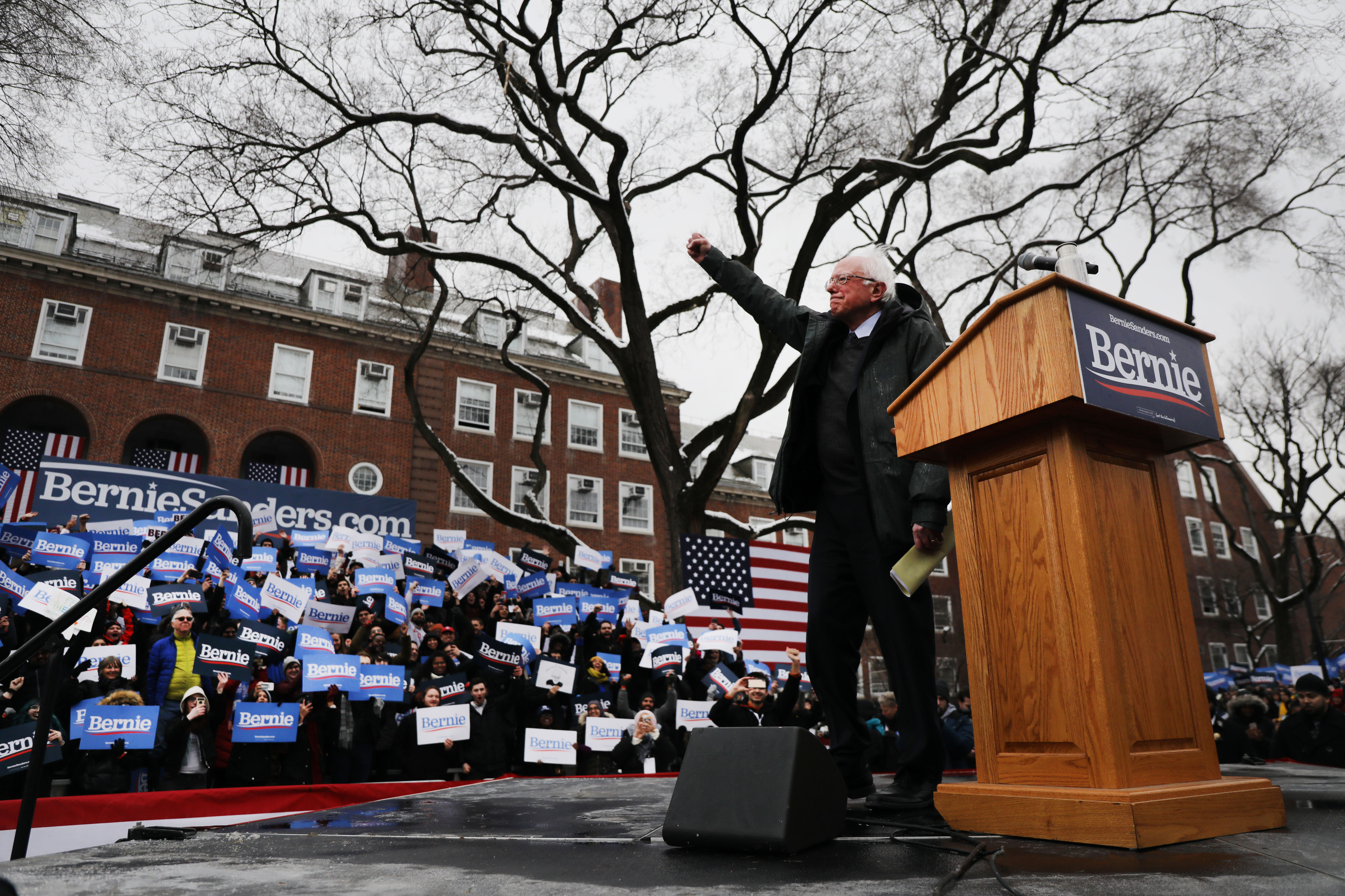 NEW YORK, NEW YORK - MARCH 02: Democratic Presidential candidate U.S. Sen. Bernie Sanders (I-VT) speaks to supporters at Brooklyn College on March 02, 2019 in the Brooklyn borough of New York City. Sanders, a staunch liberal and critic of President Donald Trump, is holding his first campaign rally of the 2020 campaign for the Democratic Party's presidential nomination in his home town of Brooklyn, New York. (Photo by Spencer Platt/Getty Images)