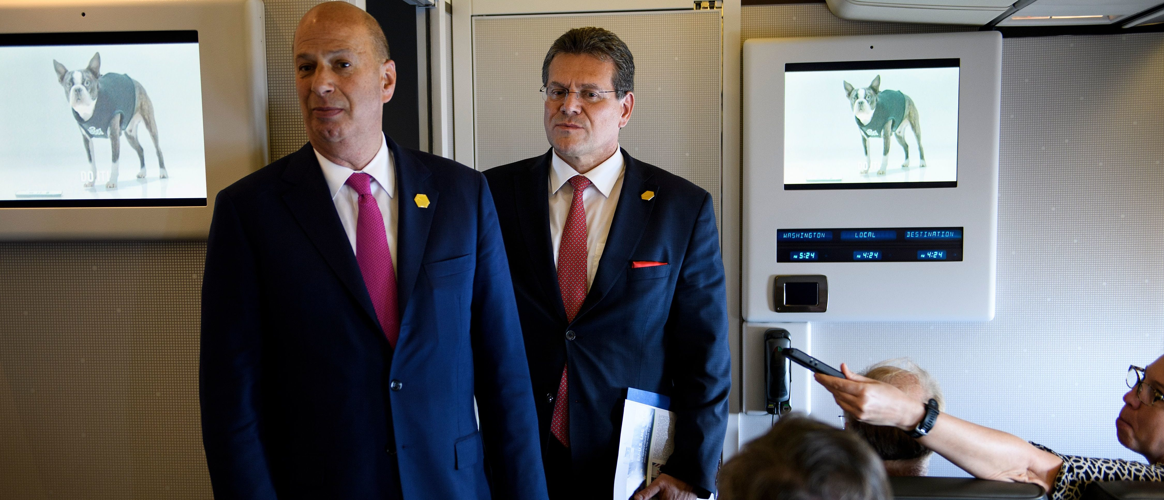 U.S. Ambassador to the EU Gordon Sondland (L) and European Commission Vice President Maros Sefcovic talk with to reporters aboard Air Force One May 14, 2019, in Louisiana. (BRENDAN SMIALOWSKI/AFP/Getty Images)