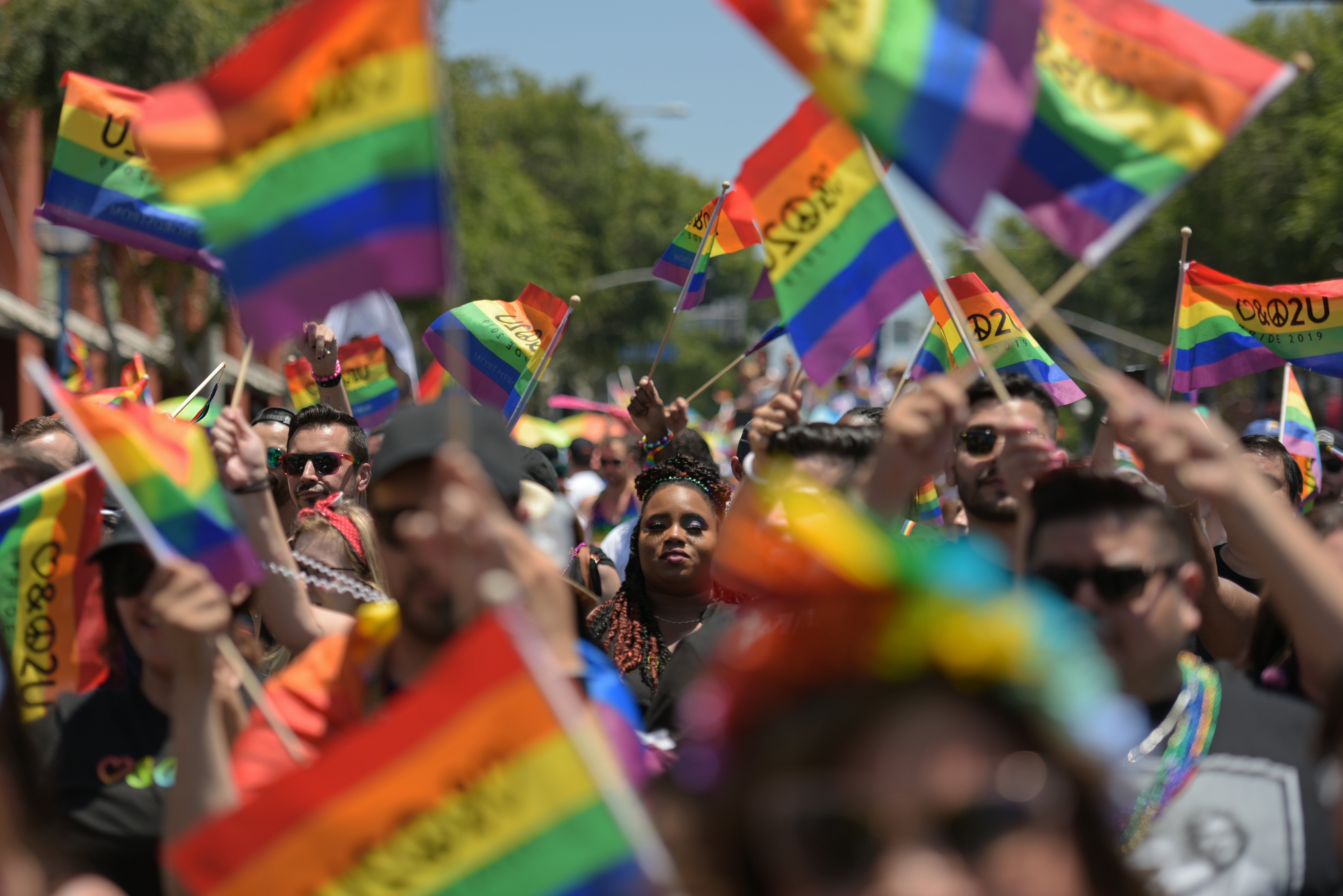 People participate in the annual LA Pride Parade in West Hollywood, California, on June 9, 2019. - LA Pride began on June 28, 1970, exactly one year after the historic Stonewall Rebellion in New York City, 50 years ago. (Photo by Agustin PAULLIER / AFP) (Photo credit should read AGUSTIN PAULLIER/AFP/Getty Images)
