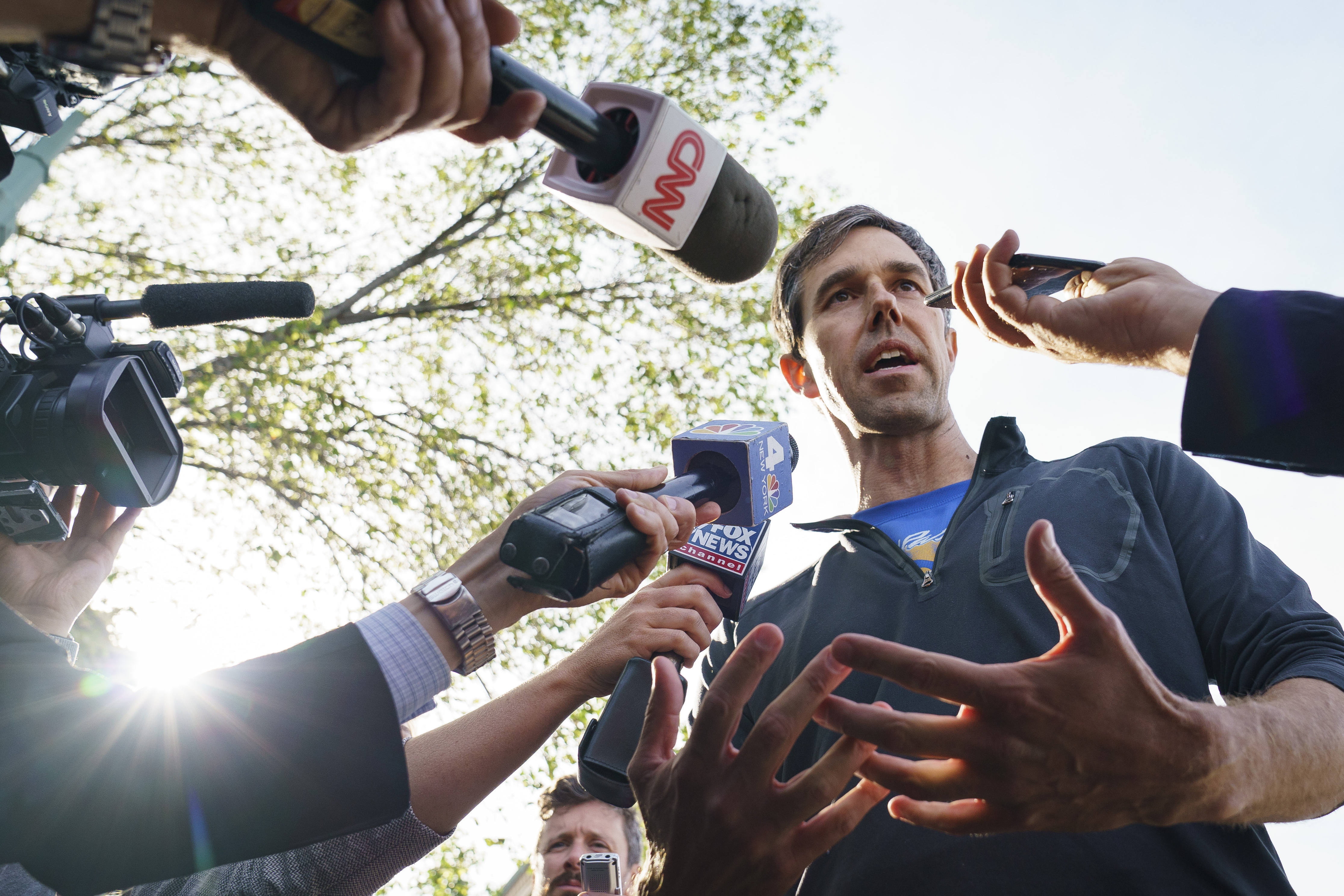 NEW YORK, NY - JUNE 12: Democratic presidential candidate and former U.S. Rep. Beto O'Rourke speaks to the press after taking part in a Pride month run, June 12, 2019 in New York City. On Wednesday, O'Rourke pledged to reverse President Donald Trump's restrictions on transgender people serving in the military and push for passage of the Equality Act if elected president. (Photo by Drew Angerer/Getty Images)