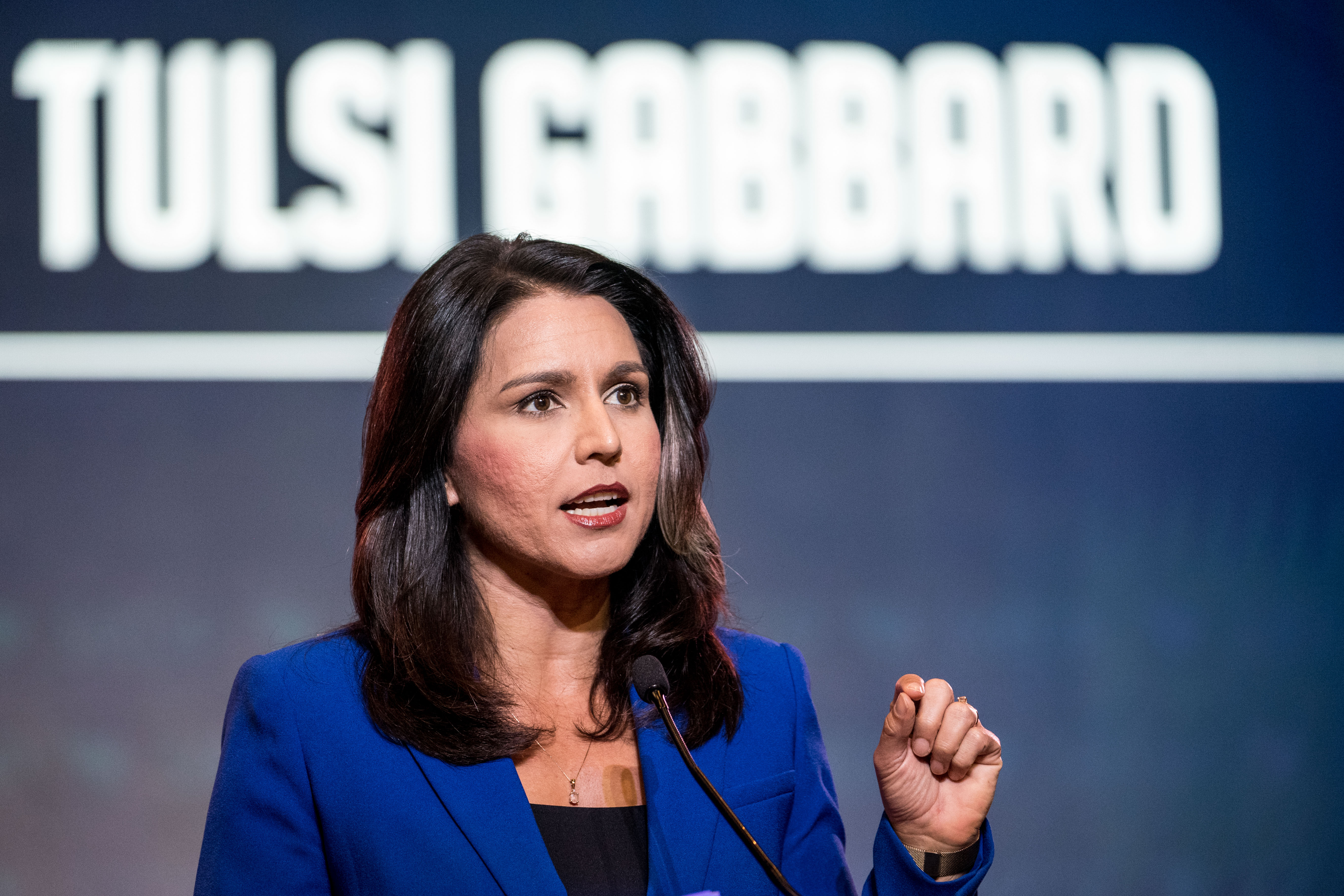 COLUMBIA, SC - JUNE 22: Democratic presidential candidate Rep. Tulsi Gabbard (R-HI) speaks to the crowd during the 2019 South Carolina Democratic Party State Convention on June 22, 2019 in Columbia, South Carolina. Democratic presidential hopefuls are converging on South Carolina this weekend for a host of events where the candidates can directly address an important voting bloc in the Democratic primary. (Photo by Sean Rayford/Getty Images)