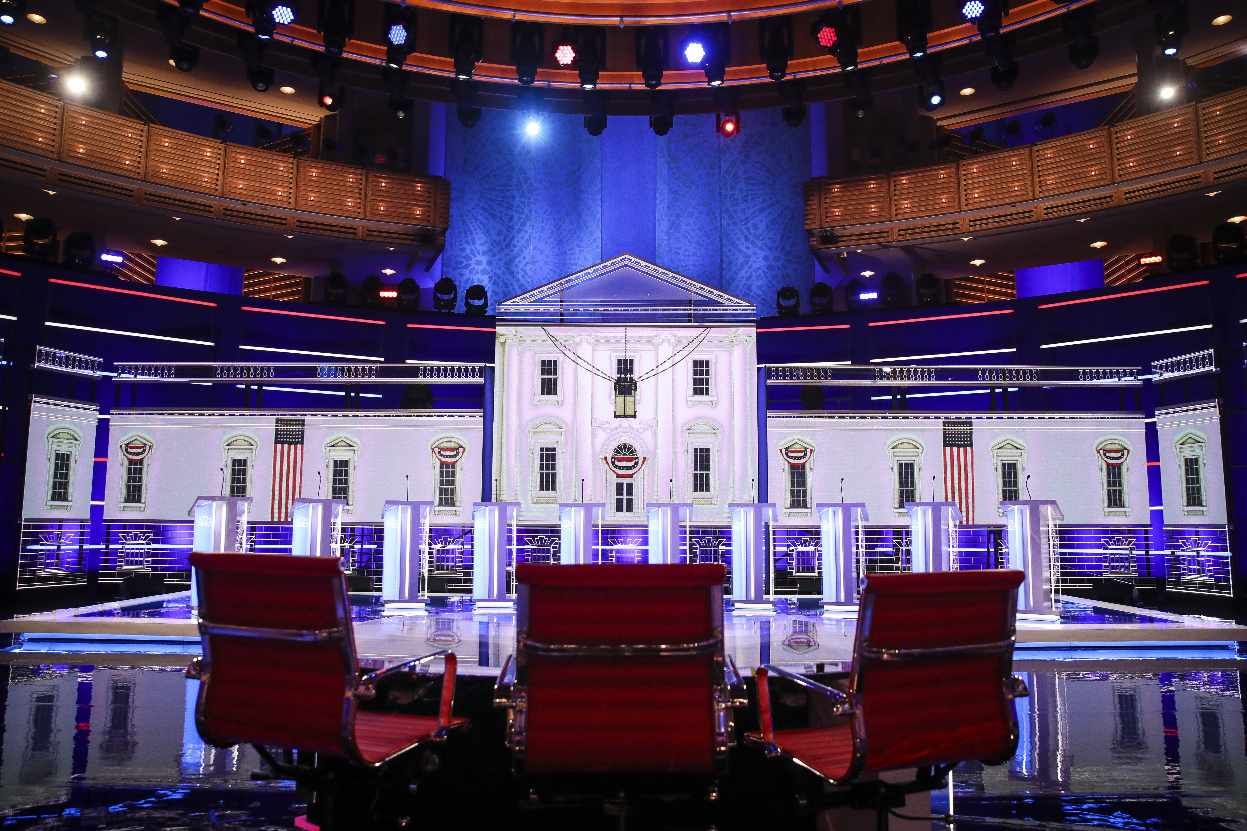 MIAMI, FL - JUNE 26: The stage is set for the first Democratic presidential primary debate for the 2020 election at the Adrienne Arsht Center for the Performing Arts, June 26, 2019 in Miami, Florida. A field of 20 Democratic presidential candidates was split into two groups of 10 for the first debate of the 2020 election, taking place over two nights at Knight Concert Hall of the Adrienne Arsht Center for the Performing Arts of Miami-Dade County, hosted by NBC News, MSNBC, and Telemundo. (Photo by Drew Angerer/Getty Images)