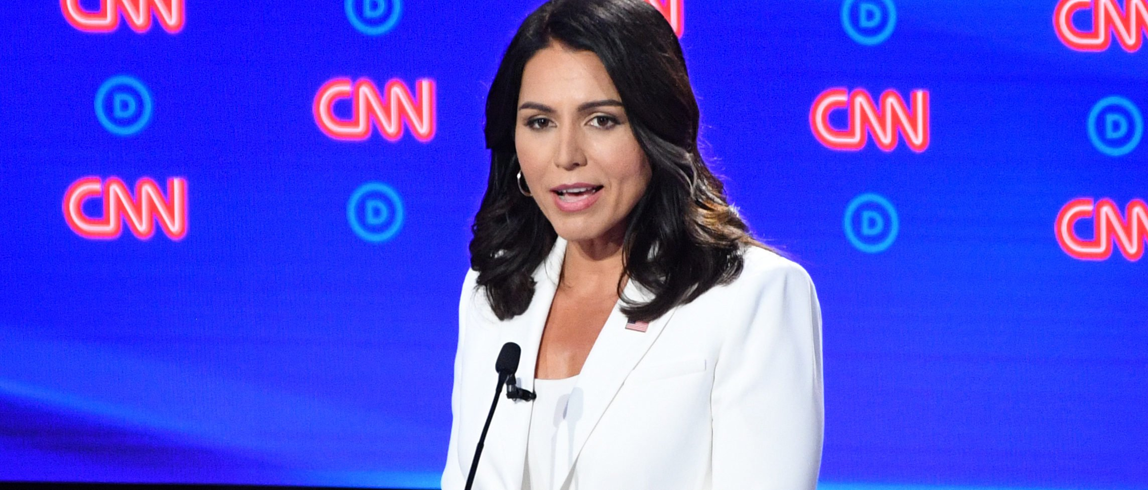 Democratic presidential hopeful US Representative for Hawaii's 2nd congressional district Tulsi Gabbard speaks during the second round of the second Democratic primary debate of the 2020 presidential campaign season hosted by CNN at the Fox Theatre in Detroit, Michigan on July 31, 2019. (Photo by Jim WATSON / AFP) (Photo credit should read JIM WATSON/AFP/Getty Images)