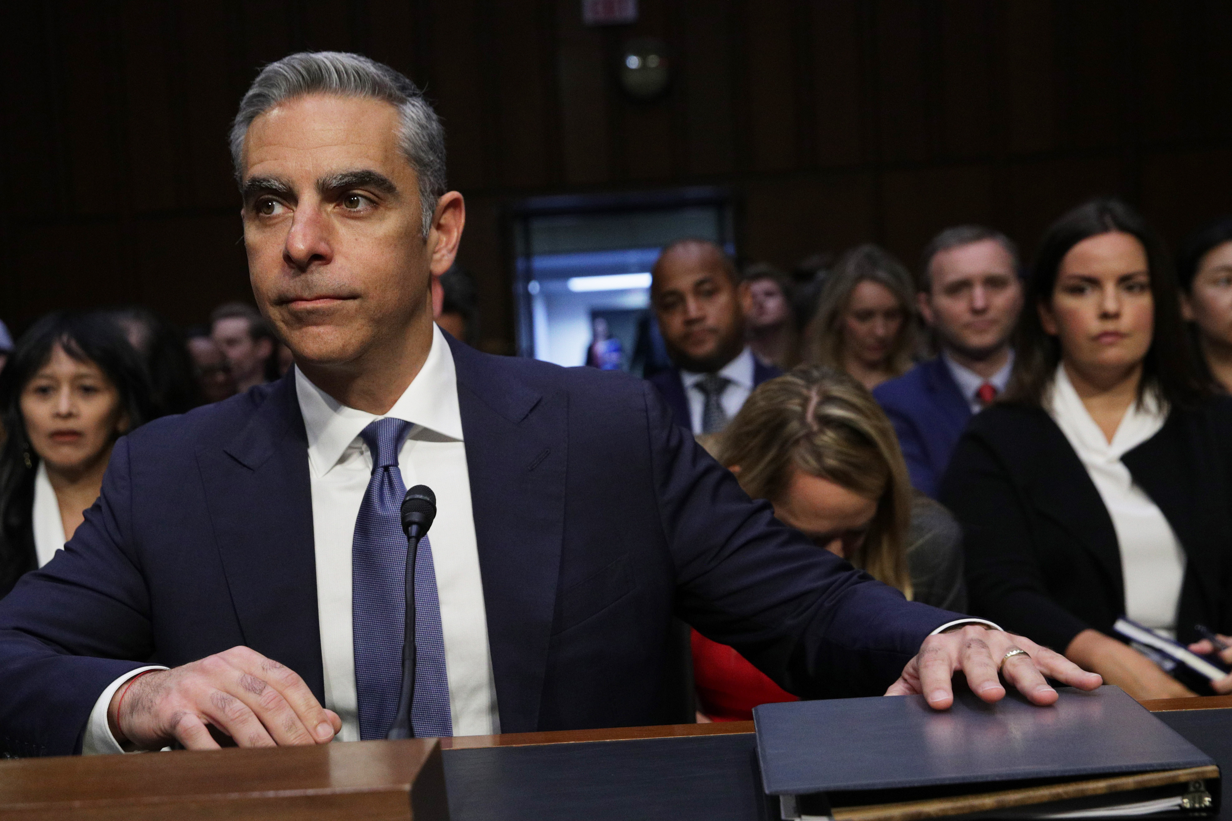Head of Facebook's Calibra David Marcus waits for the beginning of a hearing before Senate Banking, Housing and Urban Affairs Committee July 16, 2019 on Capitol Hill in Washington, DC. The committee held the hearing on
