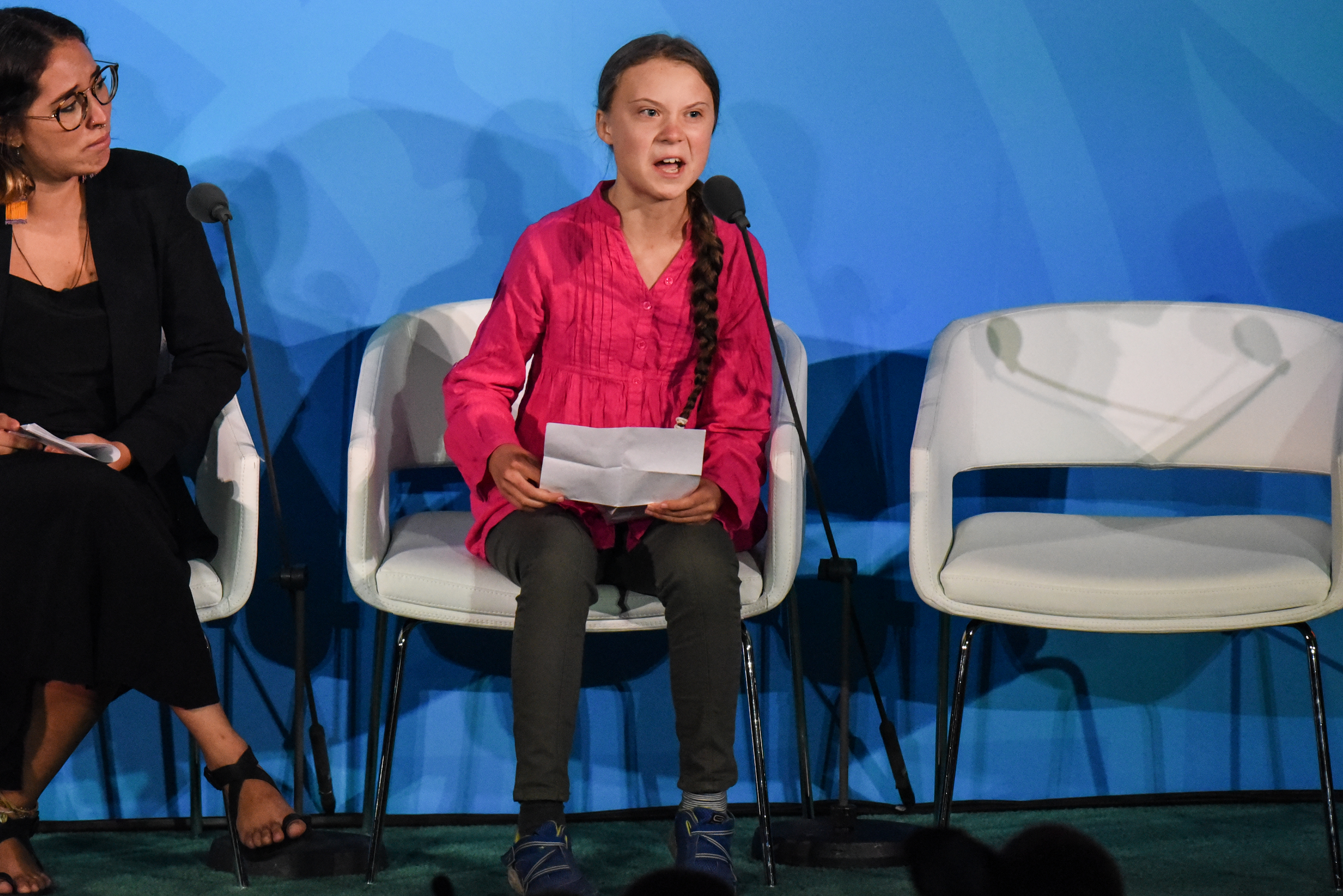 NEW YORK, NY - SEPTEMBER 23: Youth activist Greta Thunberg speaks at the Climate Action Summit at the United Nations on September 23, 2019 in New York City. While the United States will not be participating, China and about 70 other countries are expected to make announcements concerning climate change. The summit at the U.N. comes after a worldwide Youth Climate Strike on Friday, which saw millions of young people around the world demanding action to address the climate crisis. (Photo by Stephanie Keith/Getty Images)