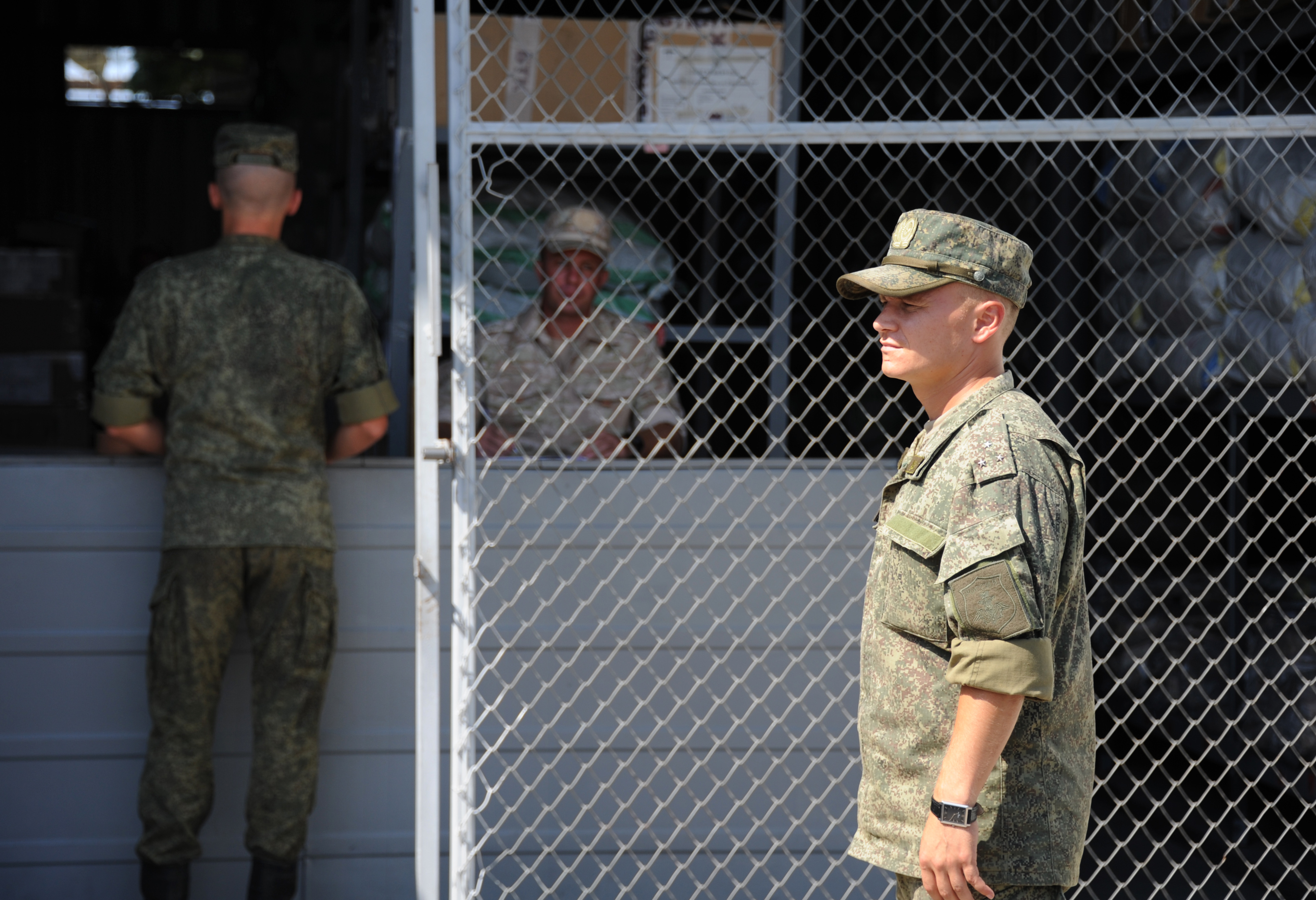 Newly arrived Russian soldiers collect their gear at the Russian military base of Hmeimim, located south-east of the city of Latakia in Hmeimim, Latakia Governorate, Syria, on September 26, 2019. - With military backing from Russia, President Bashar al-Assad's forces have retaken large parts of Syria from rebels and jihadists since 2015, and now control around 60 percent of the country. Russia often refers to troops it deployed in Syria as military advisers even though its forces and warplanes are also directly involved in battles against jihadists and other rebels (Photo by Maxime POPOV / AFP) (Photo credit should read MAXIME POPOV/AFP/Getty Images)