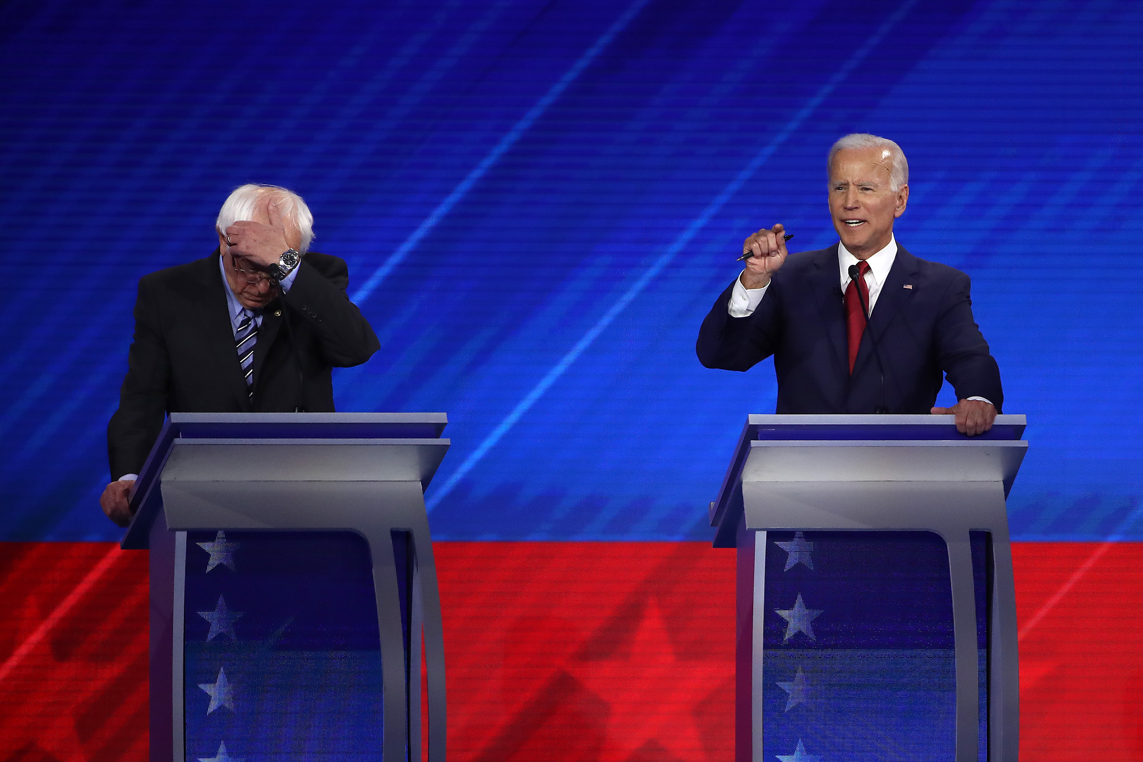 HOUSTON, TEXAS - SEPTEMBER 12: Democratic presidential candidate Sen. Bernie Sanders (I-VT) gestures as former Vice President Joe Biden speaks during the Democratic Presidential Debate at Texas Southern University's Health and PE Center on September 12, 2019 in Houston, Texas. Ten Democratic presidential hopefuls were chosen from the larger field of candidates to participate in the debate hosted by ABC News in partnership with Univision. (Photo by Win McNamee/Getty Images)