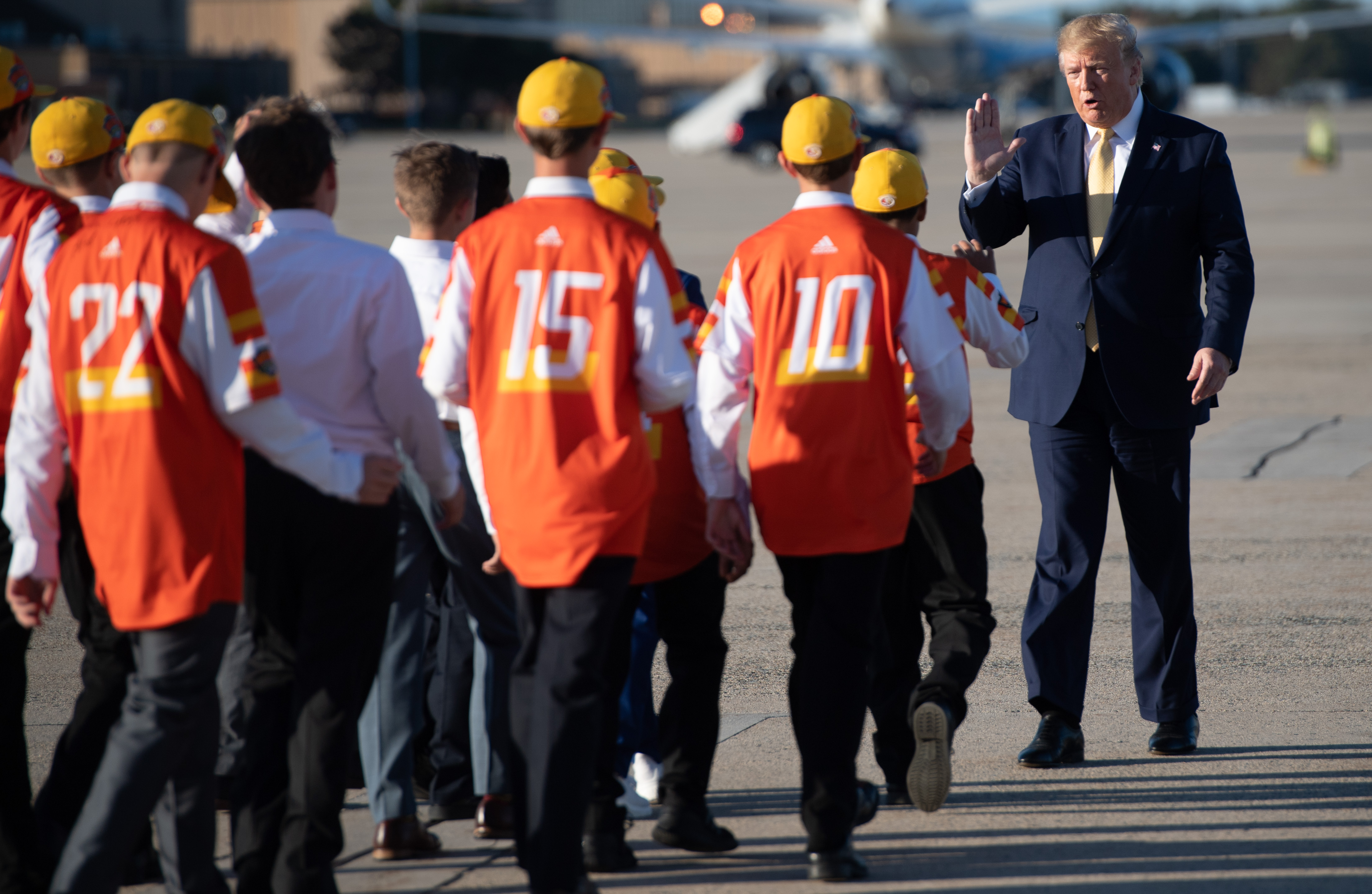 US President Donald Trump greets members of the Little League World Championship baseball team, the Eastbank All Stars of Louisiana before boarding Air Force One