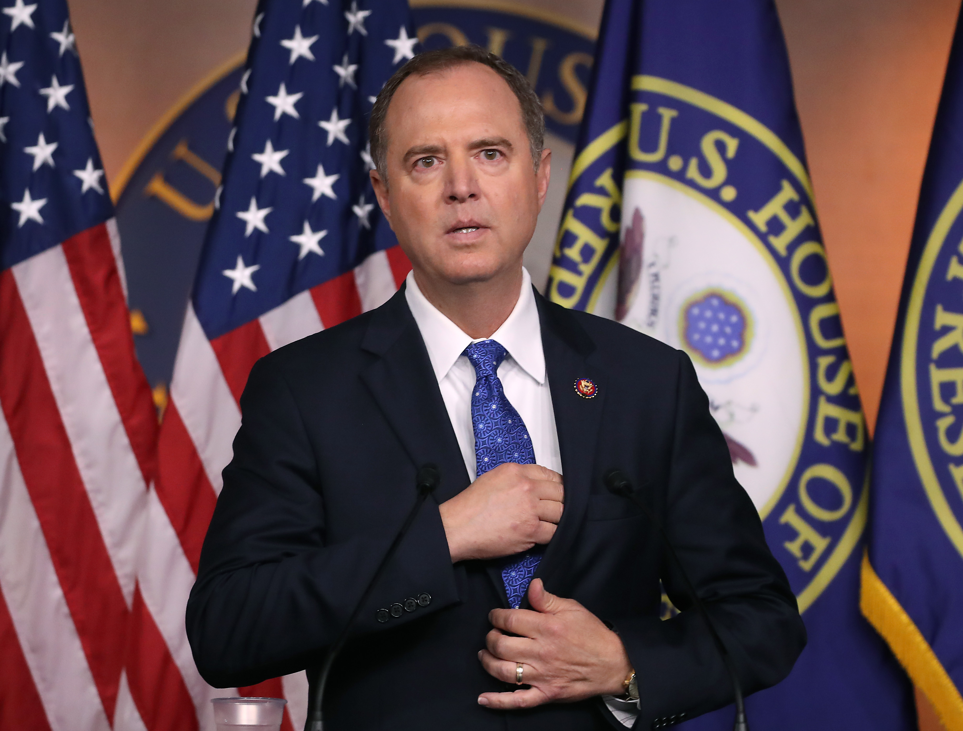 WASHINGTON, DC - SEPTEMBER 25: House Intelligence Chairman Rep. Adam Schiff (D-CA) speaks to the media one day after House Speaker Nancy Pelosi (D-CA) announced that Democrats will start an impeachment injury of U.S. President Donald Trump, on September 25, 2019 in Washington, DC. Yesterday Pelosi announced a formal impeachment inquiry after allegations that President Donald Trump sought to pressure the president of Ukraine to investigate leading Democratic presidential contender, former Vice President Joe Biden and his son, which was the subject of a reported whistle-blower complaint that the Trump administration has withheld from Congress. (Photo by Mark Wilson/Getty Images)