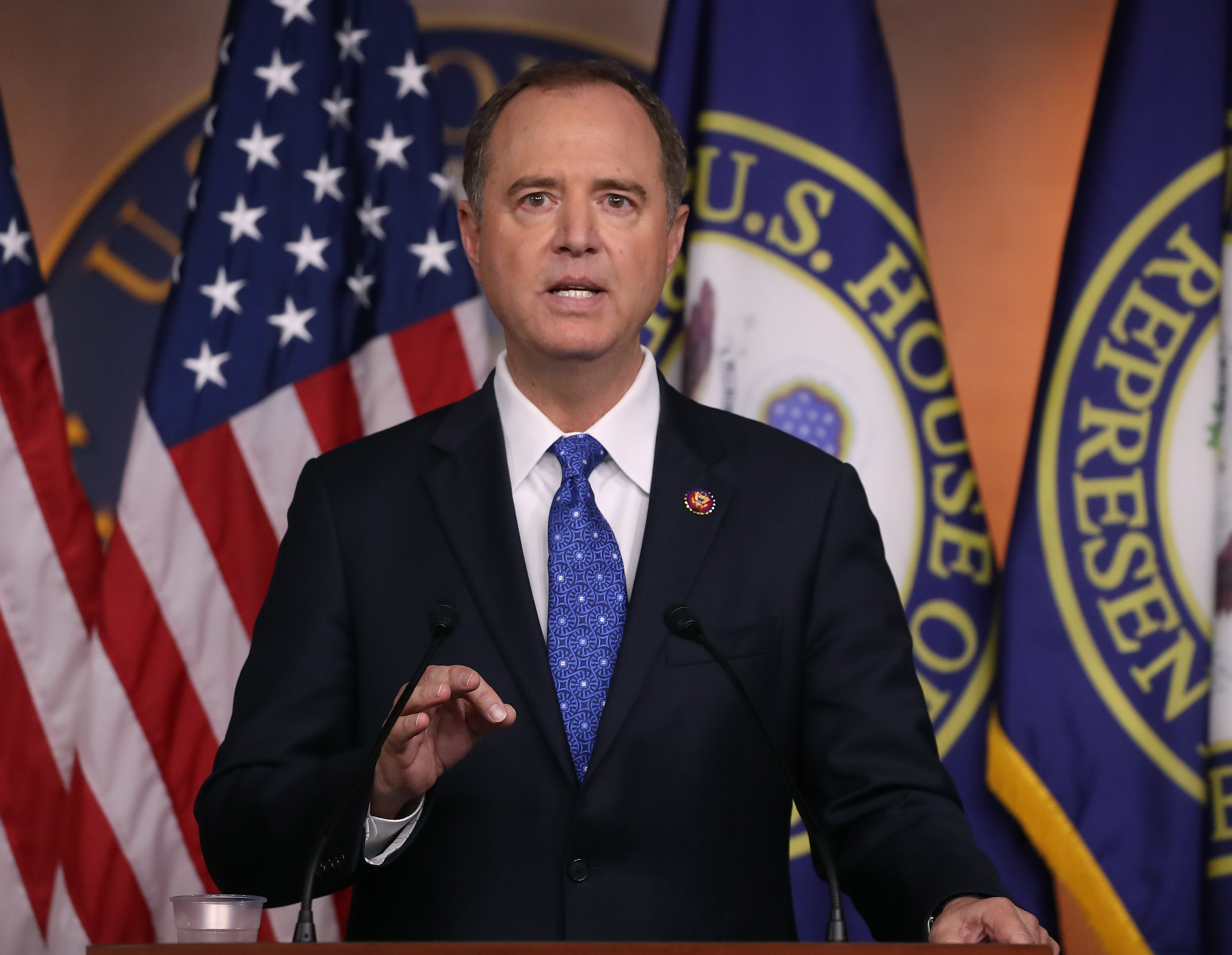 House Intelligence Chairman Rep. Adam Schiff (D-CA) speaks to the media one day after House Speaker Nancy Pelosi (D-CA) announced that Democrats will start an impeachment injury of U.S. President Donald Trump, on September 25, 2019 in Washington, DC. (Mark Wilson/Getty Images)