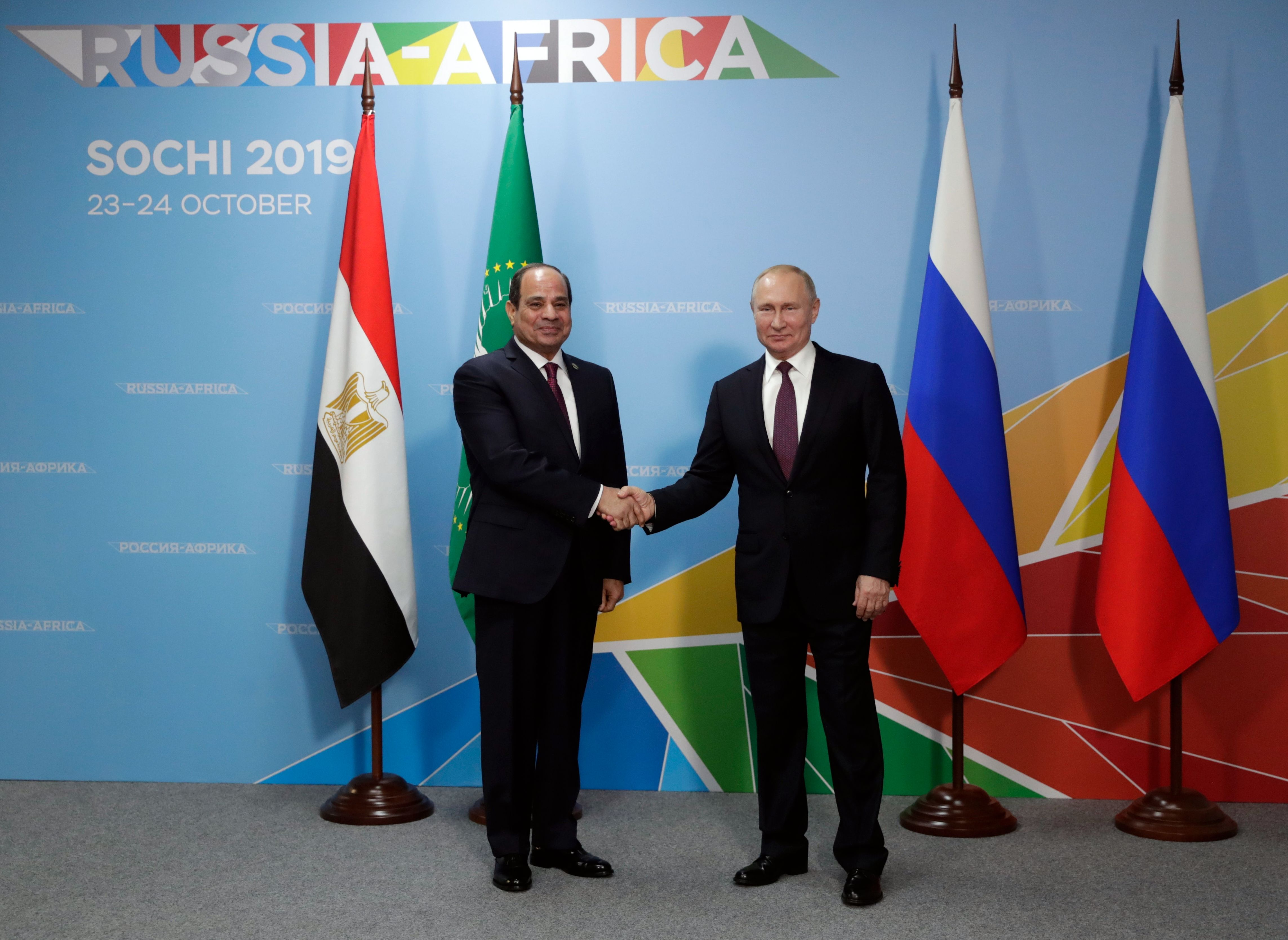 Russian President Vladimir Putin (R) meets with his Egyptian counterpart Abdel Fattah el-Sisi on the sidelines of the 2019 Russia-Africa Summit in Sochi on October 23, 2019. (Photo by MIKHAIL METZEL/SPUTNIK/AFP via Getty Images)