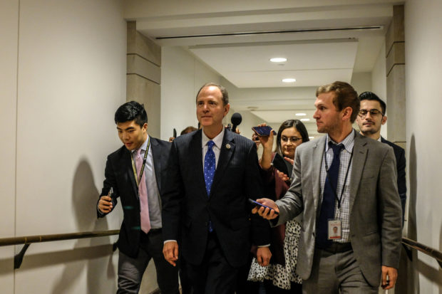 WASHINGTON, DC - OCTOBER 23: House Intelligence Committee Chairman Rep. Adam Schiff (D-CA) departs after a closed session before the House Intelligence, Foreign Affairs and Oversight committees on Capitol Hill on October 23, 2019 in Washington, DC. Deputy Assistant Secretary of Defense Laura Cooper was on Capitol Hill to testify to the committees for the ongoing impeachment inquiry against President Donald Trump. (Photo by Alex Wroblewski/Getty Images)