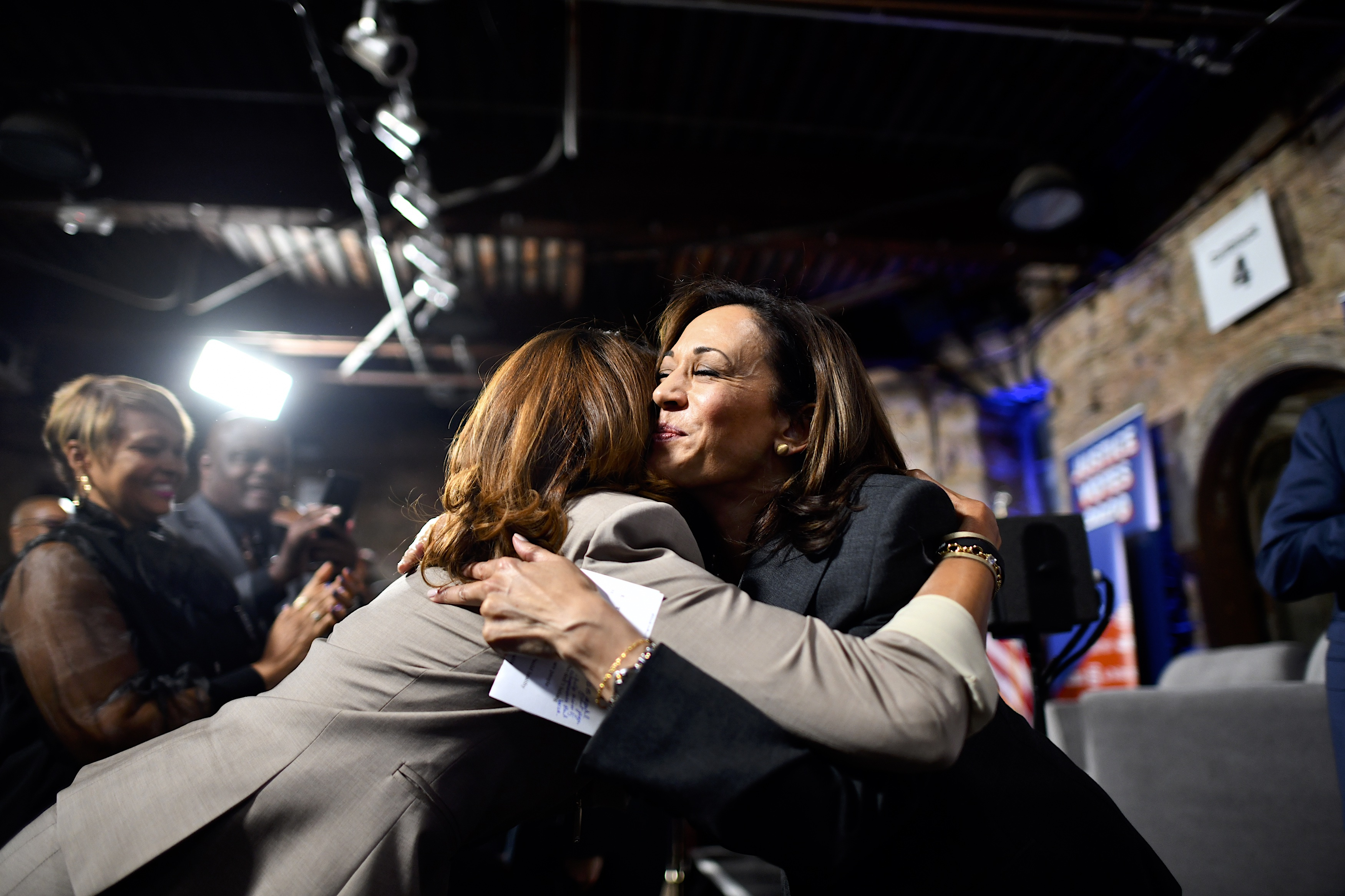 PHILADELPHIA, PA - OCTOBER 28: Democratic Presidential candidate, U.S. Senator Kamala Harris (D-CA) greets supporters following a town hall at the Eastern State Penitentiary on October 28, 2019 in Philadelphia, Pennsylvania. Formerly incarcerated individuals, their families, and others involved with the criminal justice system hosted the town hall with three 2020 Democratic presidential candidates. (Photo by Mark Makela/Getty Images)