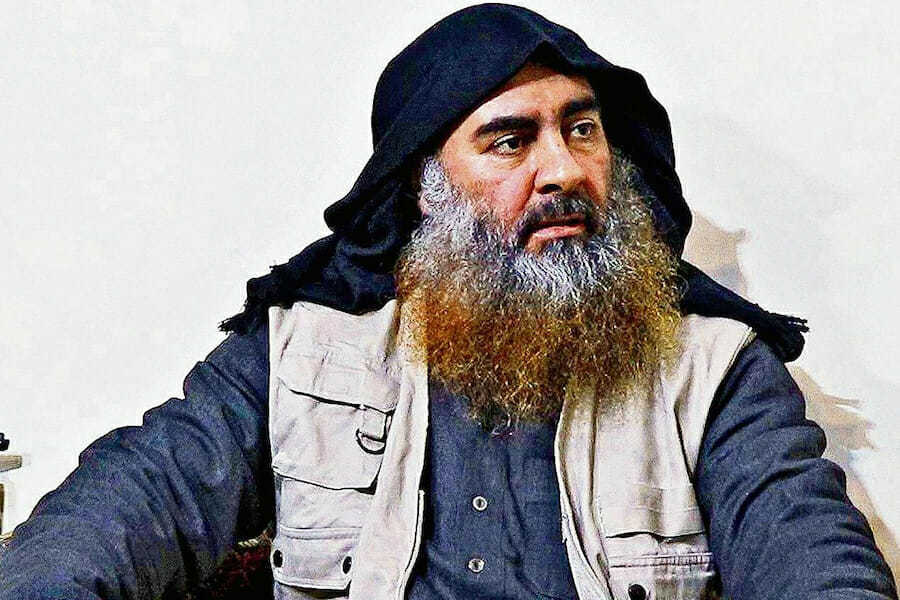 OCTOBER 30 - UNSPECIFIED: In this undated handout image provided by the Department of Defense, ISIS leader Abu Bakr al-Baghdadi is seen in an unspecified location. On October 26, 2019, U.S. Special Operations forces closed in on al-Baghdadi's compound in Syria with a mission to kill or capture the terrorist. (Photo by Department of Defense via Getty Images)