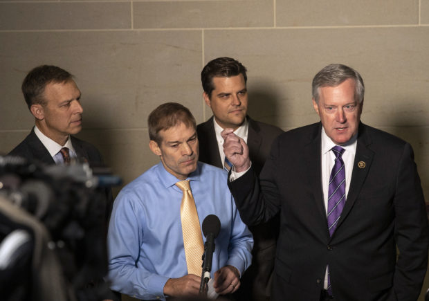 WASHINGTON, DC - OCTOBER 08: (L-R) U.S. Rep. Scott Perry (R-PA), Rep. Jim Jordan (R-OH), Rep. Matt Gaetz (R-FL) and Rep. Mark Meadows (R-NC) speak at a press conference at the U.S. Capitol on October 08, 2019 in Washington, DC. They spoke on reports that the Trump administration has blocked the testimony of U.S. Ambassador to the European Union Gordon Sondland in the House impeachment inquiry. (Photo by Tasos Katopodis/Getty Images)