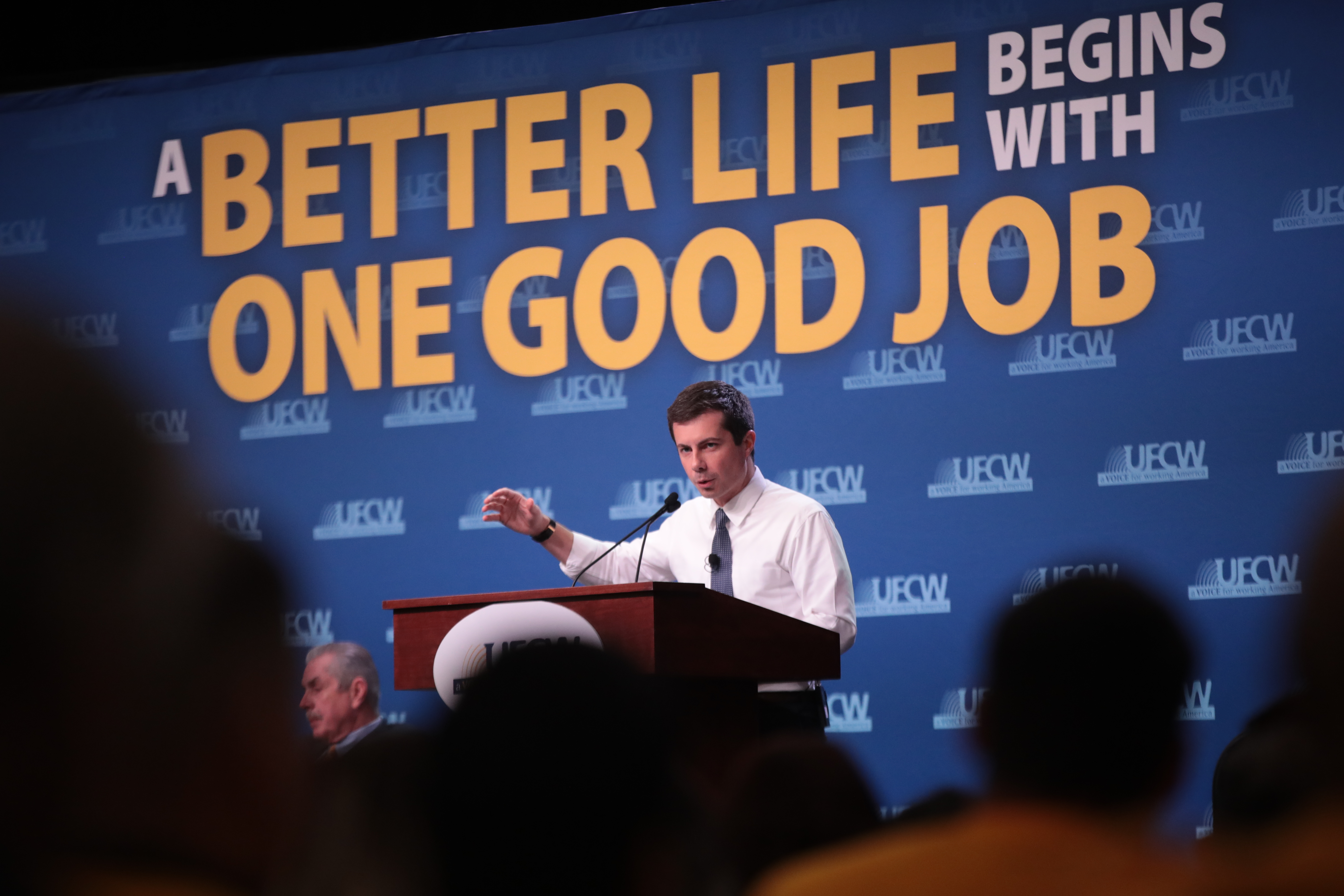 ALTOONA, IOWA - OCTOBER 13: South Bend, Indiana Mayor Pete Buttigieg speaks to guests during the United Food and Commercial Workers' (UFCW) 2020 presidential candidate forum on October 13, 2019 in Altoona, Iowa. With 1.3 million members the UFCW is America's largest private sector union. The 2020 Iowa Democratic caucuses will take place on February 3, 2020, making it the first nominating contest in the Democratic Party presidential primaries (Photo by Scott Olson/Getty Images)