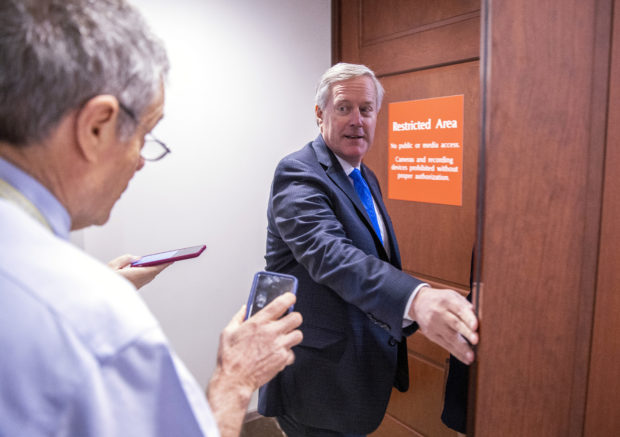 WASHINGTON, DC - OCTOBER 15: U.S. Rep. Mark Meadows (R-NC) returns to a closed session before the House Intelligence, Foreign Affairs and Oversight committees October 15, 2019 at the U.S. Capitol in Washington, DC. Deputy Undersecretary of State George Kent is on Capitol Hill to testify before the committees in the ongoing impeachment inquiry against President Donald Trump. (Photo by Tasos Katopodis/Getty Images)