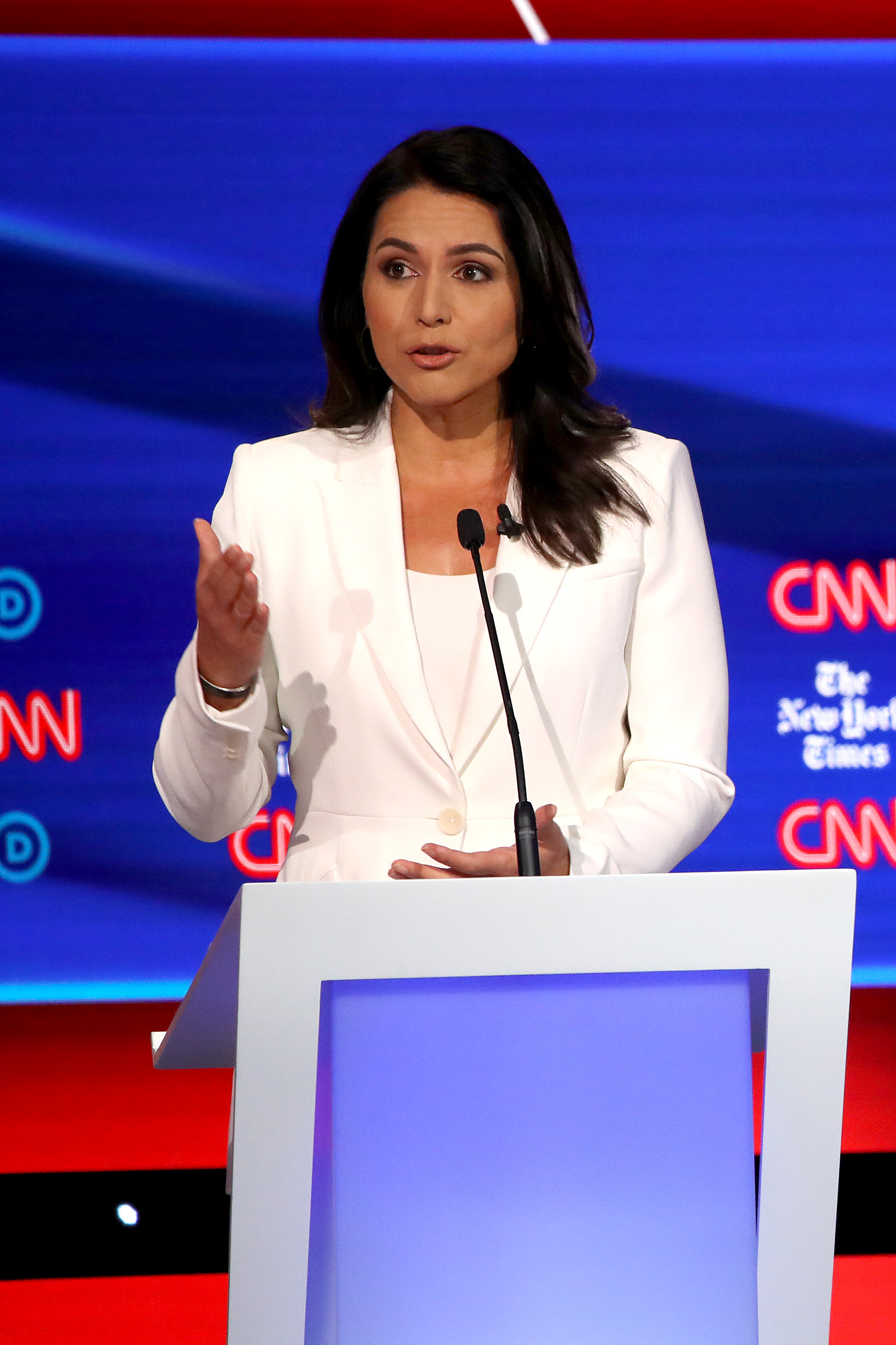 Rep. Tulsi Gabbard (D-HI) speaks during the Democratic Presidential Debate at Otterbein University on October 15, 2019 in Westerville, Ohio.(Win McNamee/Getty Images)