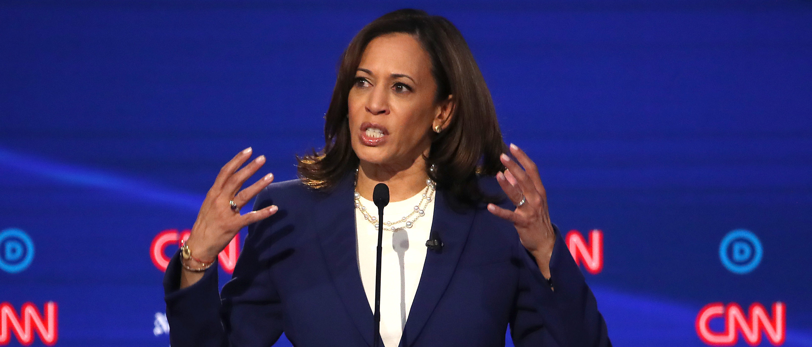 Sen. Kamala Harris speaks during the Democratic presidential debate at Otterbein University on Oct. 15, 2019 in Westerville, Ohio. (Photo by Win McNamee/Getty Images)