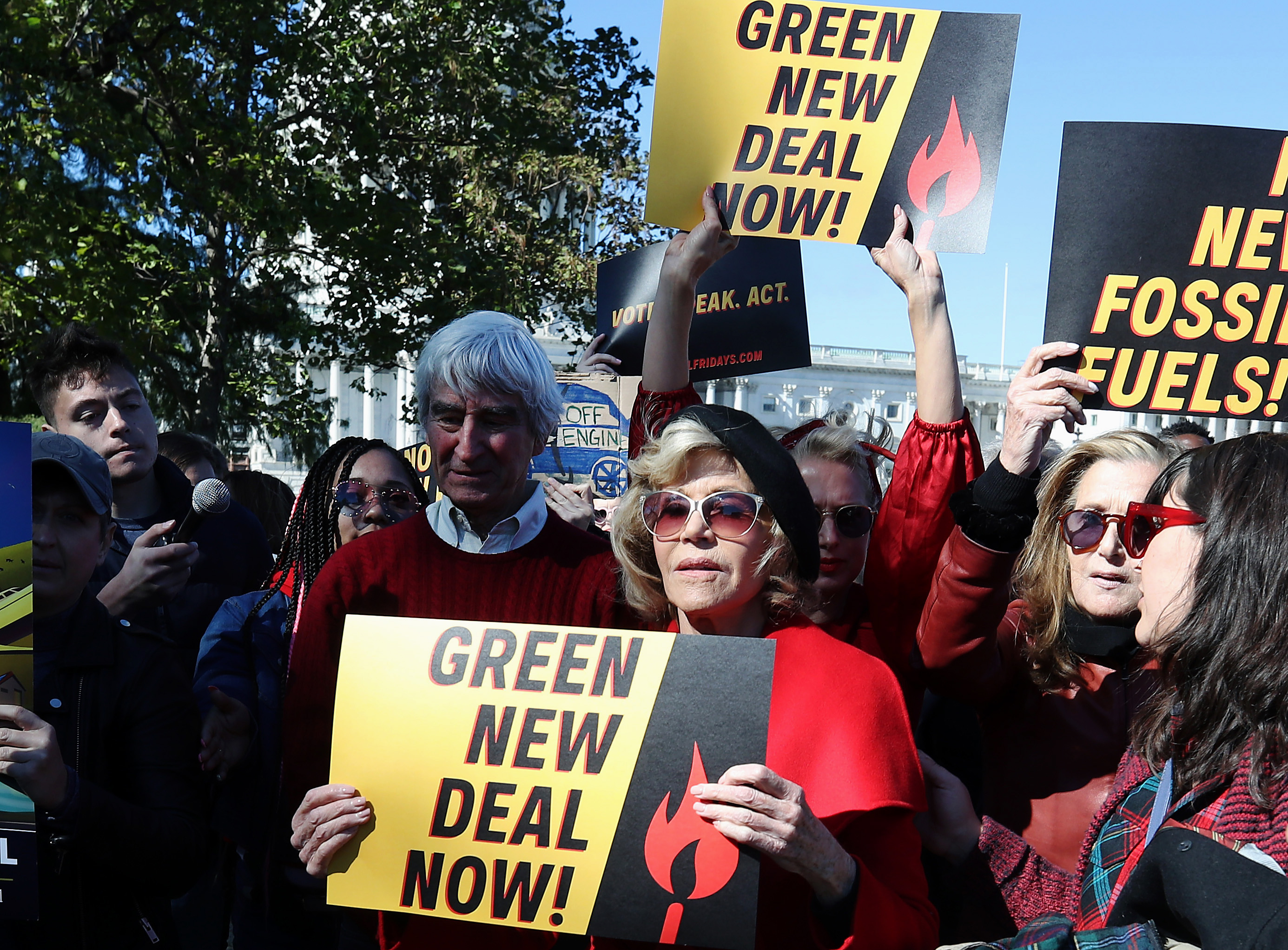 "WASHINGTON, DC - OCTOBER 18: Actress Jane Fonda (C) and actor Sam Waterston (L) participate in a protest in front of the U.S. Capitol during a ""Fire Drill Fridays"" climate change protest and rally on Capitol Hill, October 18, 2019 in Washington, DC. Protesters are demanding urgent action on adapting the Green New Deal, clean, renewable energy, and an end to all new fossil fuel exploration and drilling. (Photo by Mark Wilson/Getty Images)"