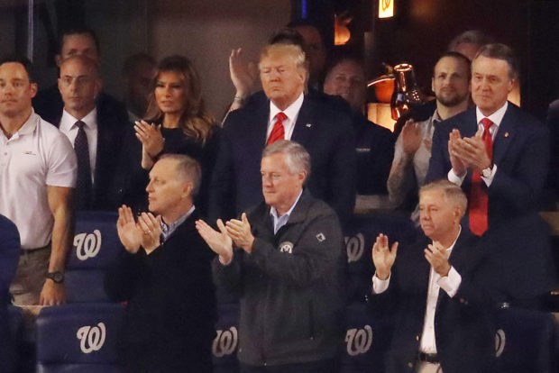 WASHINGTON, DC - OCTOBER 27: President Donald Trump attends Game Five of the 2019 World Series between the Houston Astros and the Washington Nationals at Nationals Park on October 27, 2019 in Washington, DC. (Photo by Win McNamee/Getty Images)