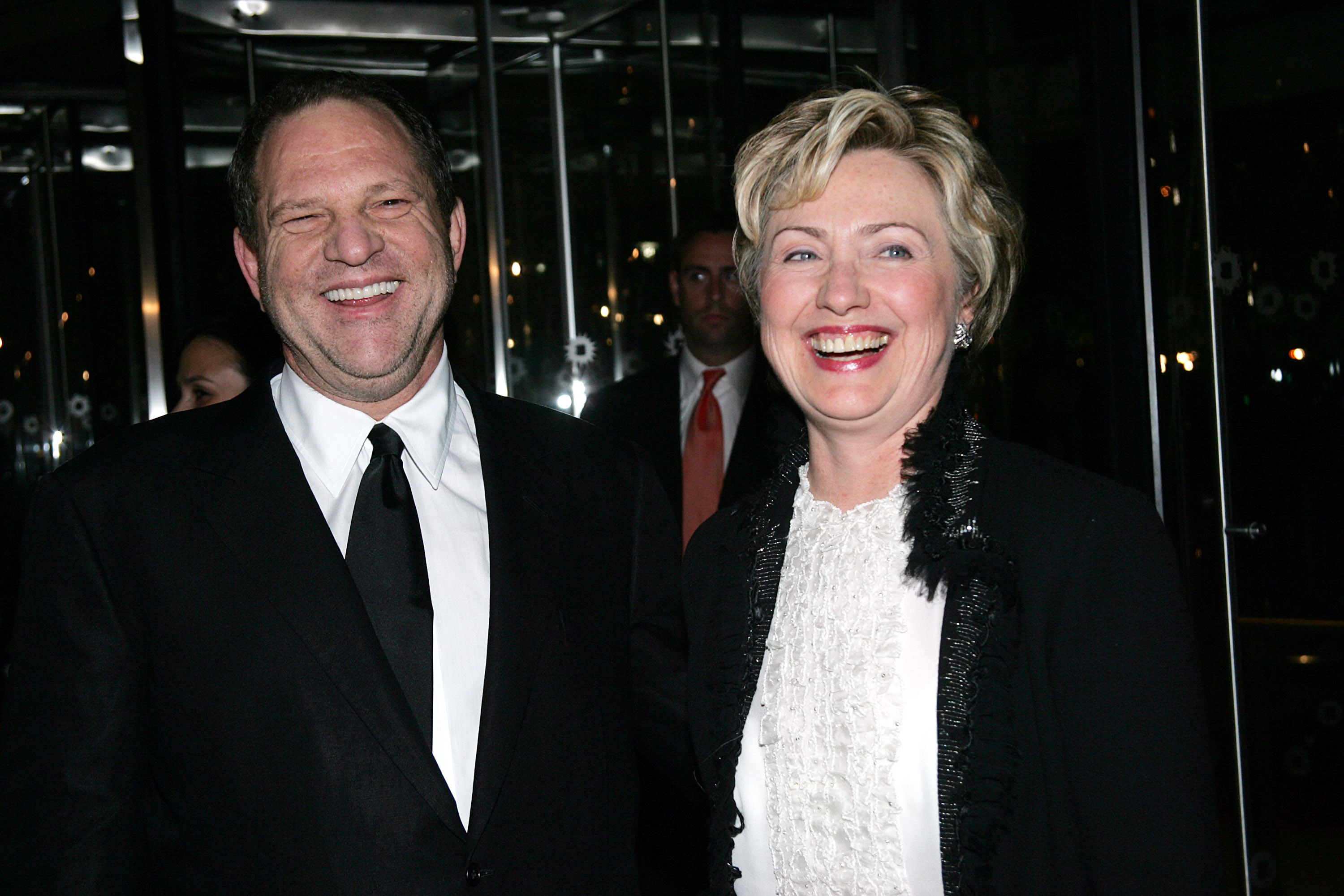 "Senator Hillary Clinton and Harvey Weinstein arrive at the Brooklyn Museum for the premiere of Miramax Films ""Finding Neverland"" October 25, 2004 in New York City. (Evan Agostini/Getty Images)"