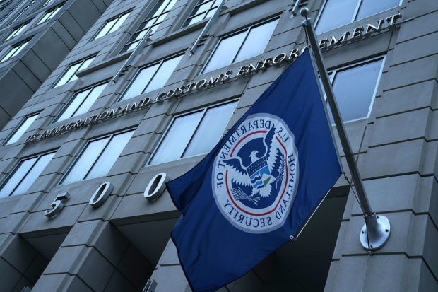 "WASHINGTON, DC - JULY 06: An exterior view of U.S. Immigration and Customs Enforcement (ICE) agency headquarters is seen July 6, 2018 in Washington, DC. U.S. Vice President Mike Pence placed a visit to the agency and received a briefing on ""ICE's overall mission on enforcement and removal operations, countering illicit trade, and human smuggling."" (Photo by Alex Wong/Getty Images)"