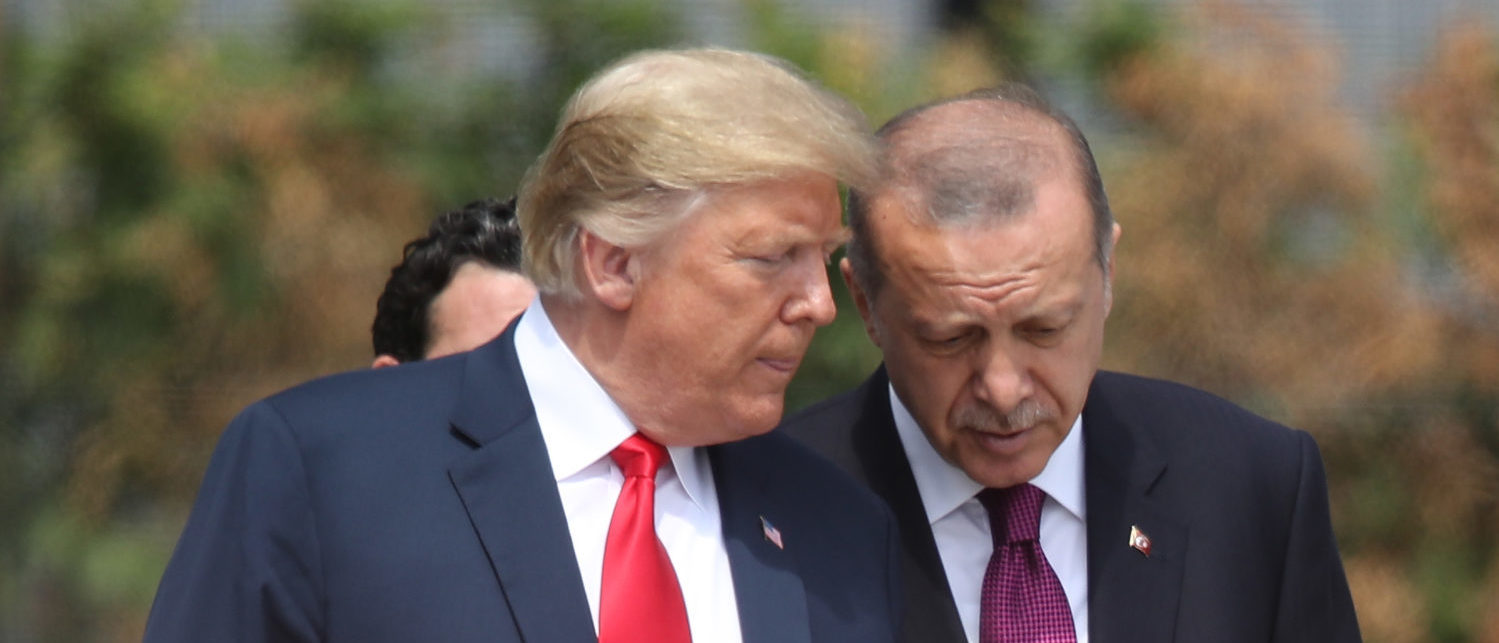 BRUSSELS, BELGIUM - JULY 11: U.S. President Donald Trump (L) and Turkish President Recep Tayyip Erdogan attend the opening ceremony at the 2018 NATO Summit at NATO headquarters on July 11, 2018 in Brussels, Belgium. Leaders from NATO member and partner states are meeting for a two-day summit, which is being overshadowed by strong demands by U.S. President Trump for most NATO member countries to spend more on defense. (Photo by Sean Gallup/Getty Images)