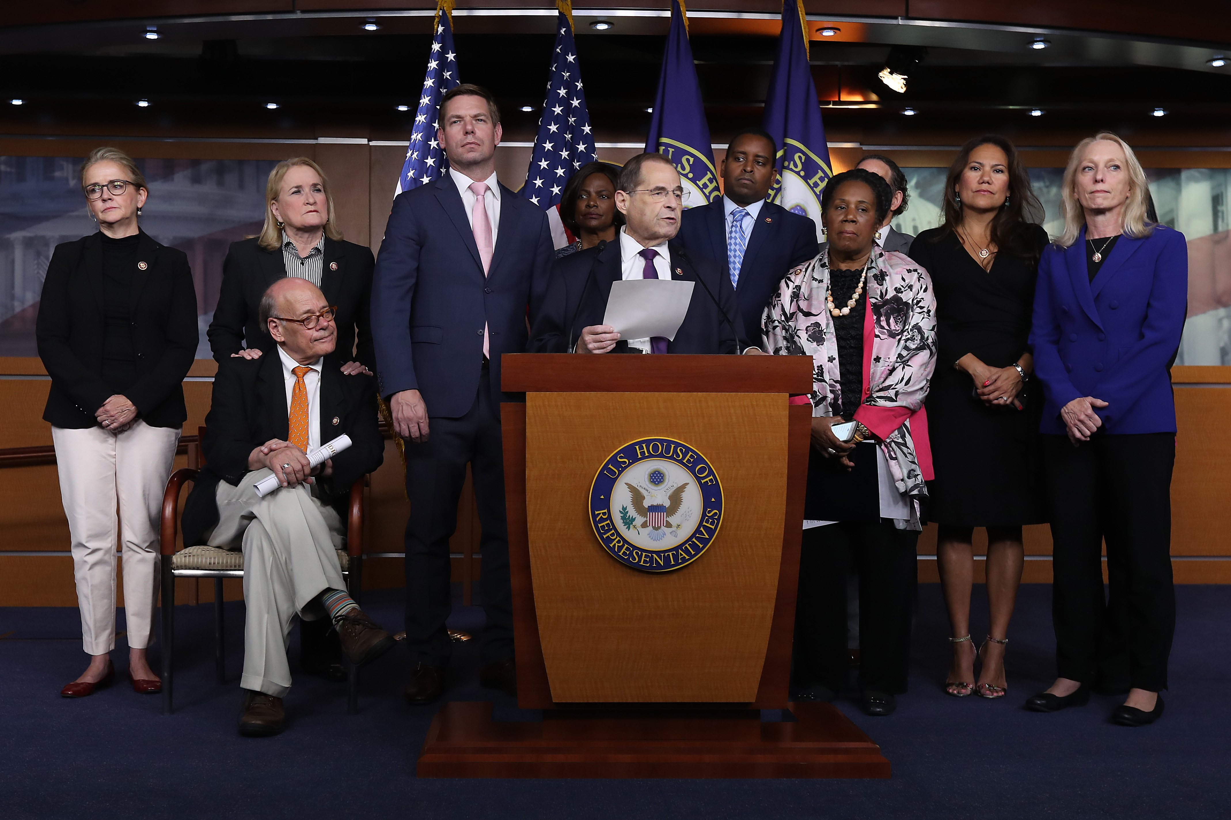 House Judiciary Committee Chairman Jerrold Nadler (D-NY) (C) and fellow Democratic members of the committee speak at the Capitol on July 26, 2019. (Chip Somodevilla/Getty Images)