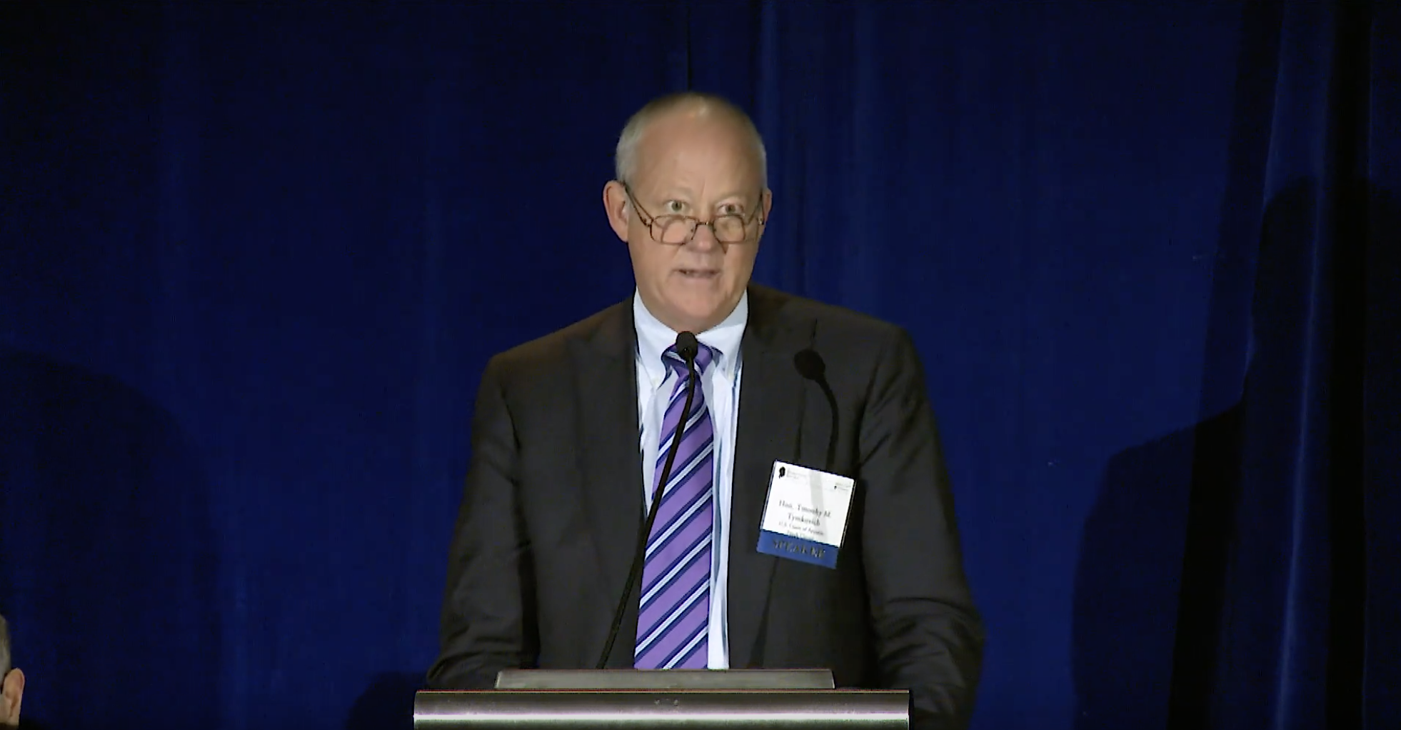 Judge Timothy Tymkovich speaks at a Federalist Society conference in 2018. (YouTube screenshot/Federalist Society)