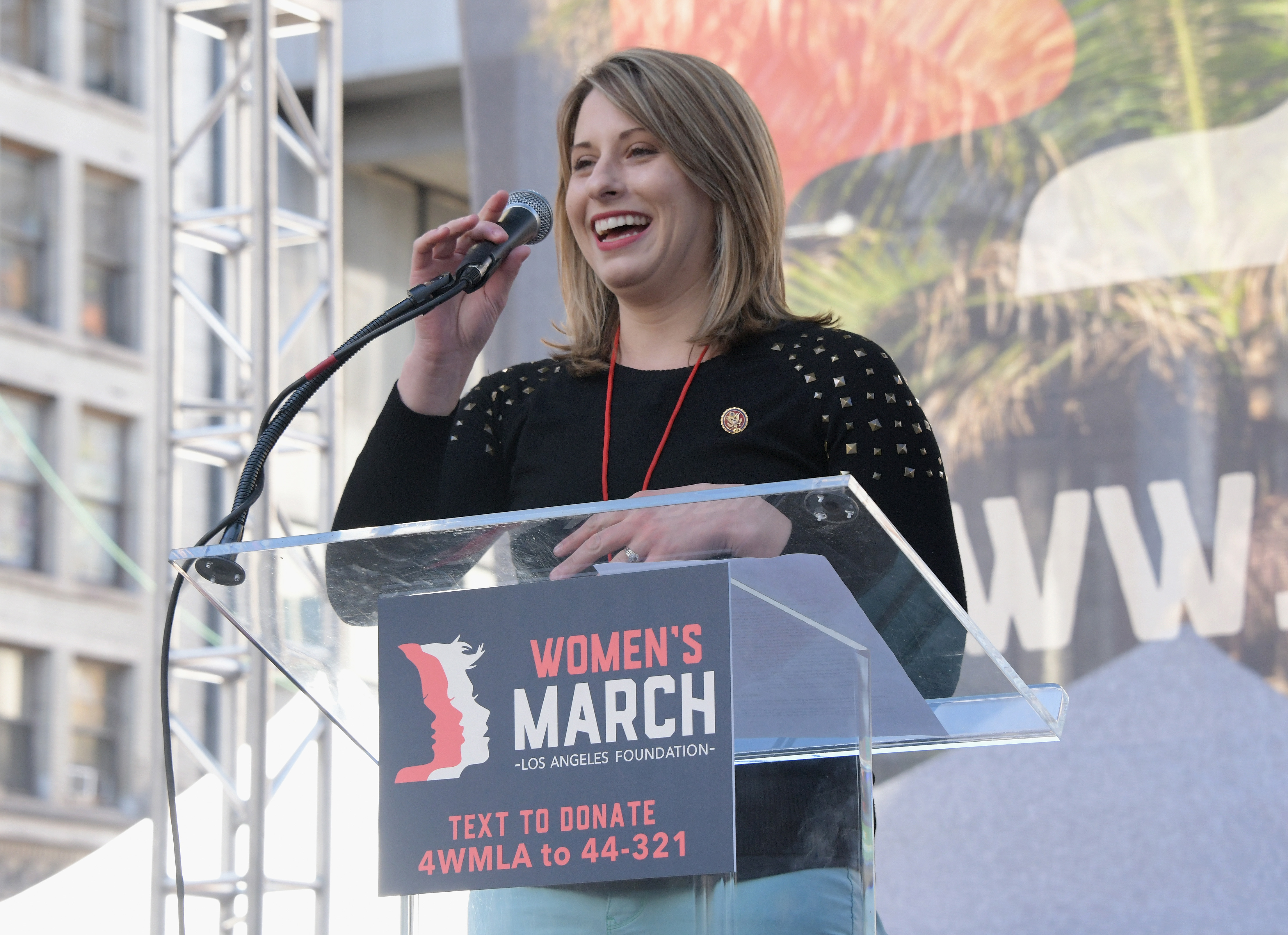 LOS ANGELES, CA - JANUARY 19: Katie Hill speaks onstage at the 2019 Women's March Los Angeles on January 19, 2019 in Los Angeles, California. (Photo by Araya Diaz/Getty Images for Women's March Los Angeles )