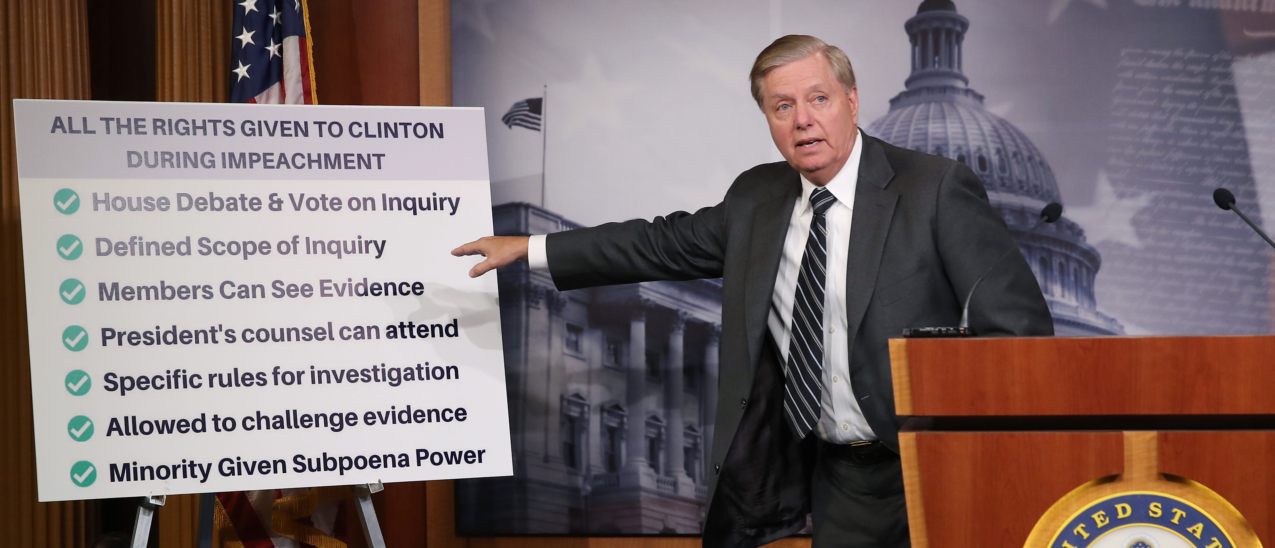 WASHINGTON, DC - OCTOBER 24: Senate Judiciary Committee Chairman Lindsey Graham (R-SC), talks about the Clinton impeachment while introducing a resolution condemning House Impeachment inquiry against President Donald Trump, at the U.S. Capitol on October 24, 2019 in Washington, DC. (Photo by Mark Wilson/Getty Images)