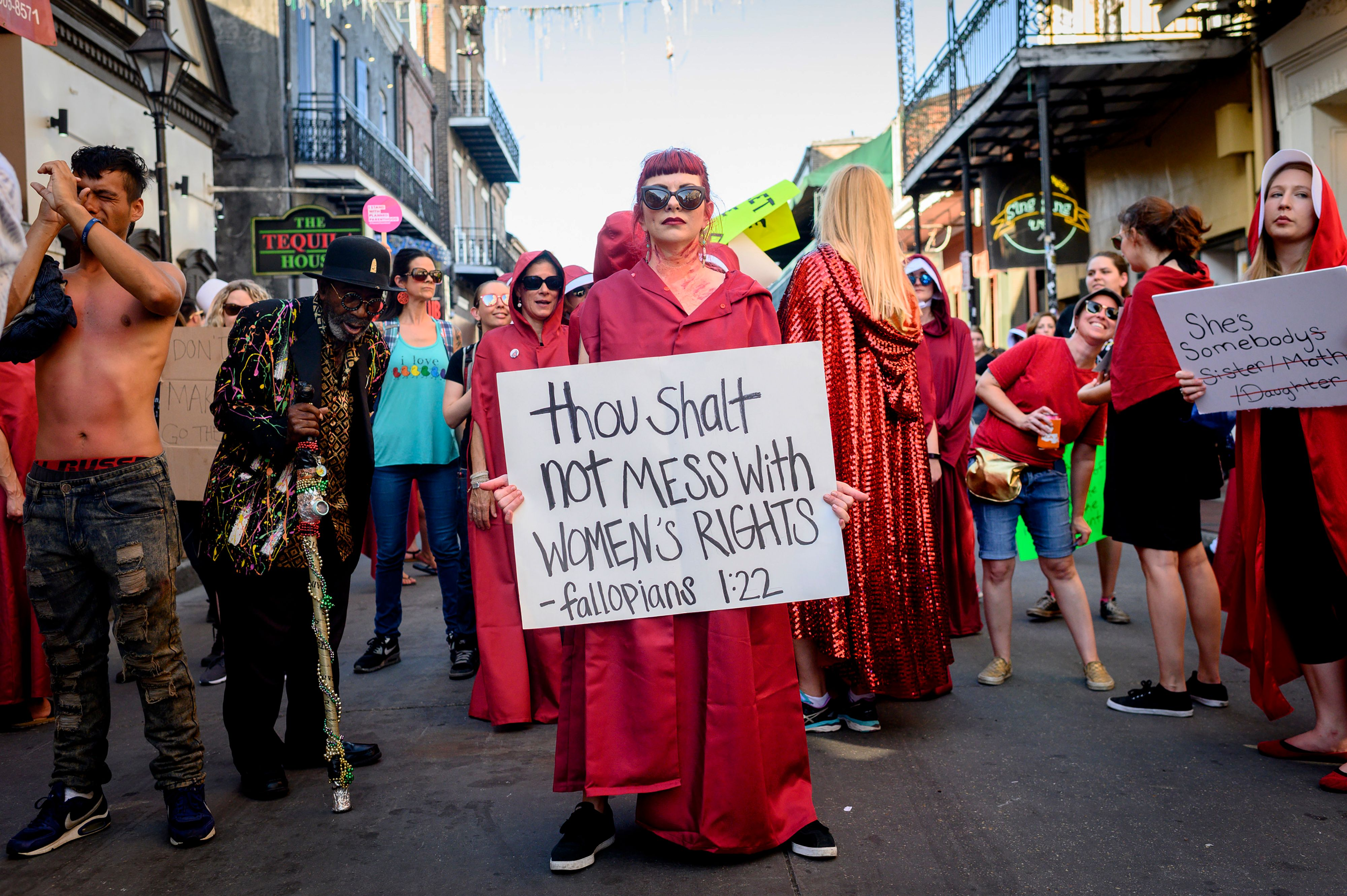 Pro-abortion protesters march down Bourbon Street in the French Quarter of New Orleans, Louisiana on May 25, 2019. (Emily Kask/AFP/Getty Images)