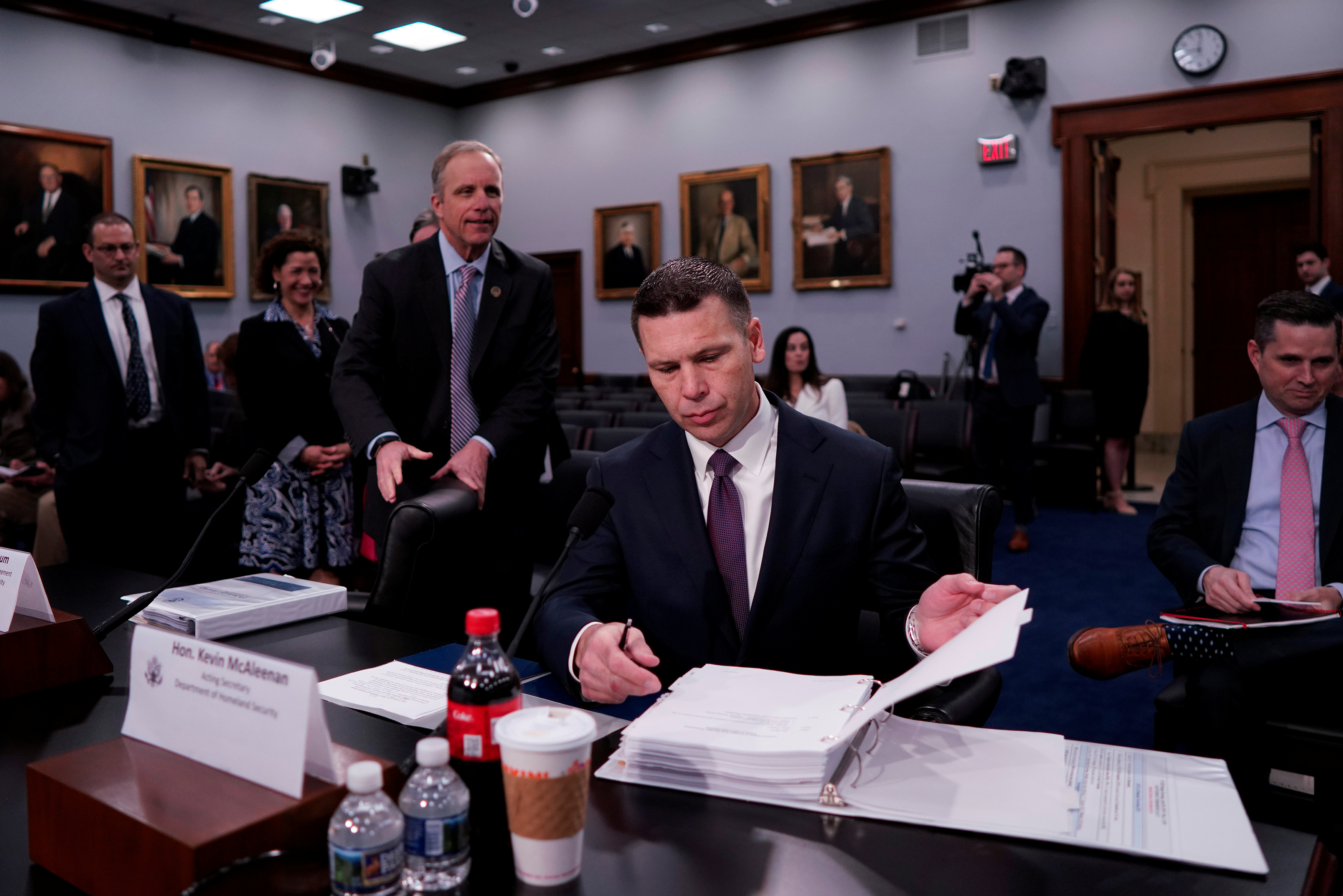 "Acting U.S. Homeland Security Secretary Kevin McAleenan arrives to testify before a House Appropriations Homeland Security Subcommittee hearing on ""FY2020 Budget Hearing - Department of Homeland Security"" on Capitol Hill in Washington"