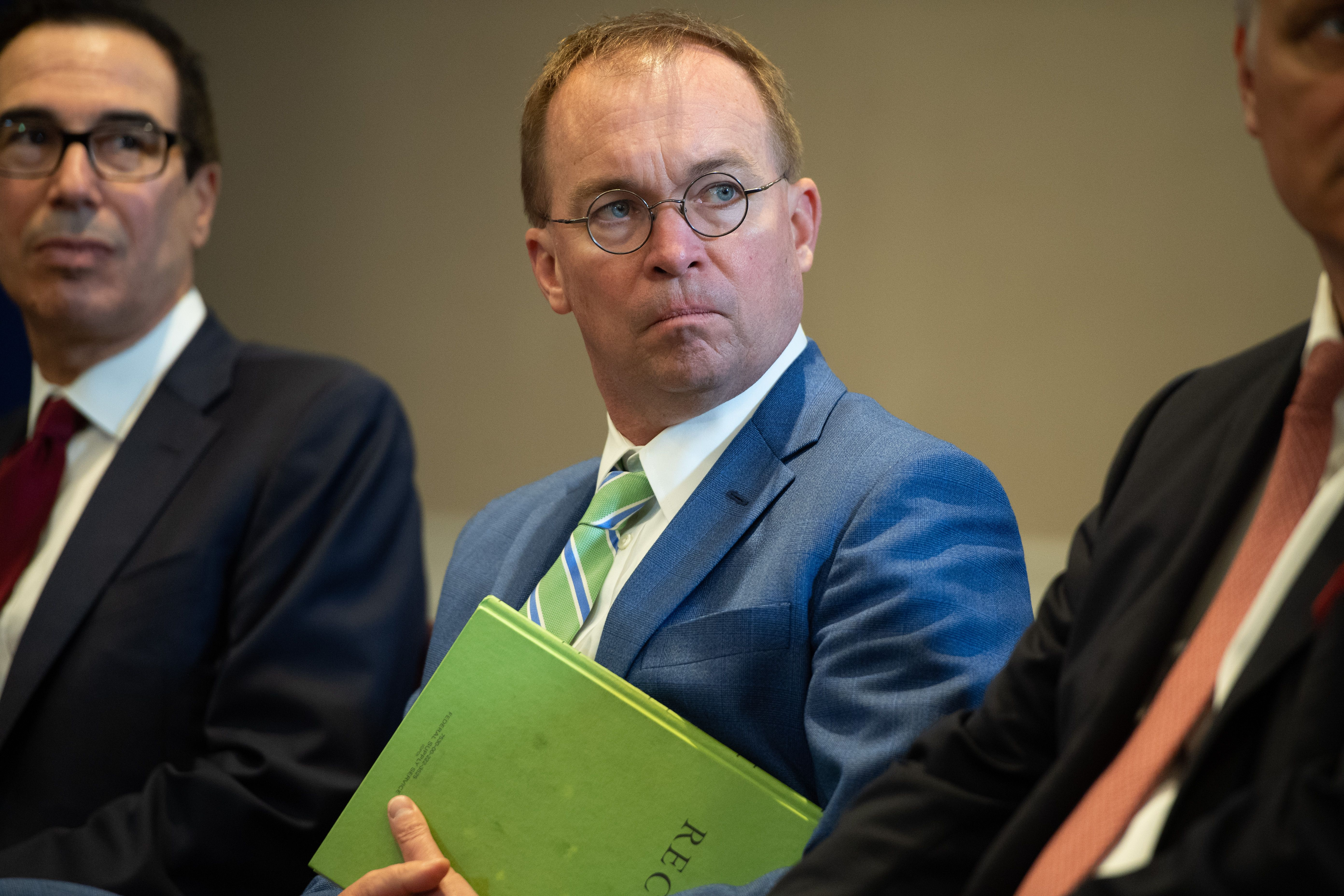 White House Chief of Staff Mick Mulvaney attends a meeting between US President Donald Trump and Iraqi Prime Minister Adil Abdul-Mahdi in New York on September 24, 2019. (Saul Loeb/AFP/Getty Images)